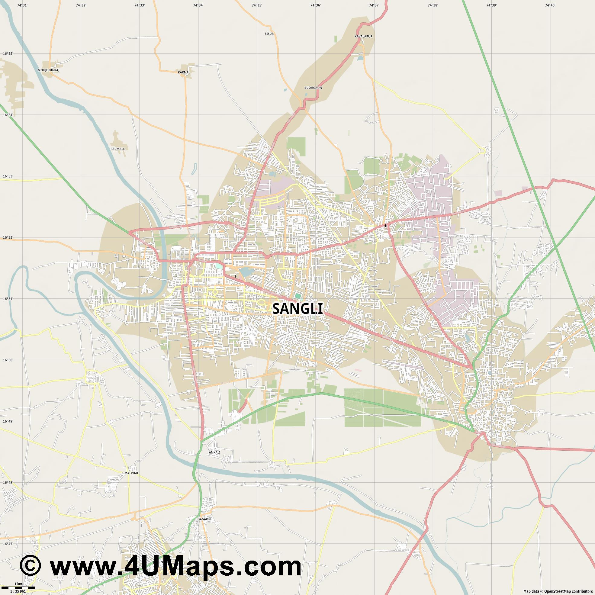 Sangli  jpg high detail, large area preview vector city map