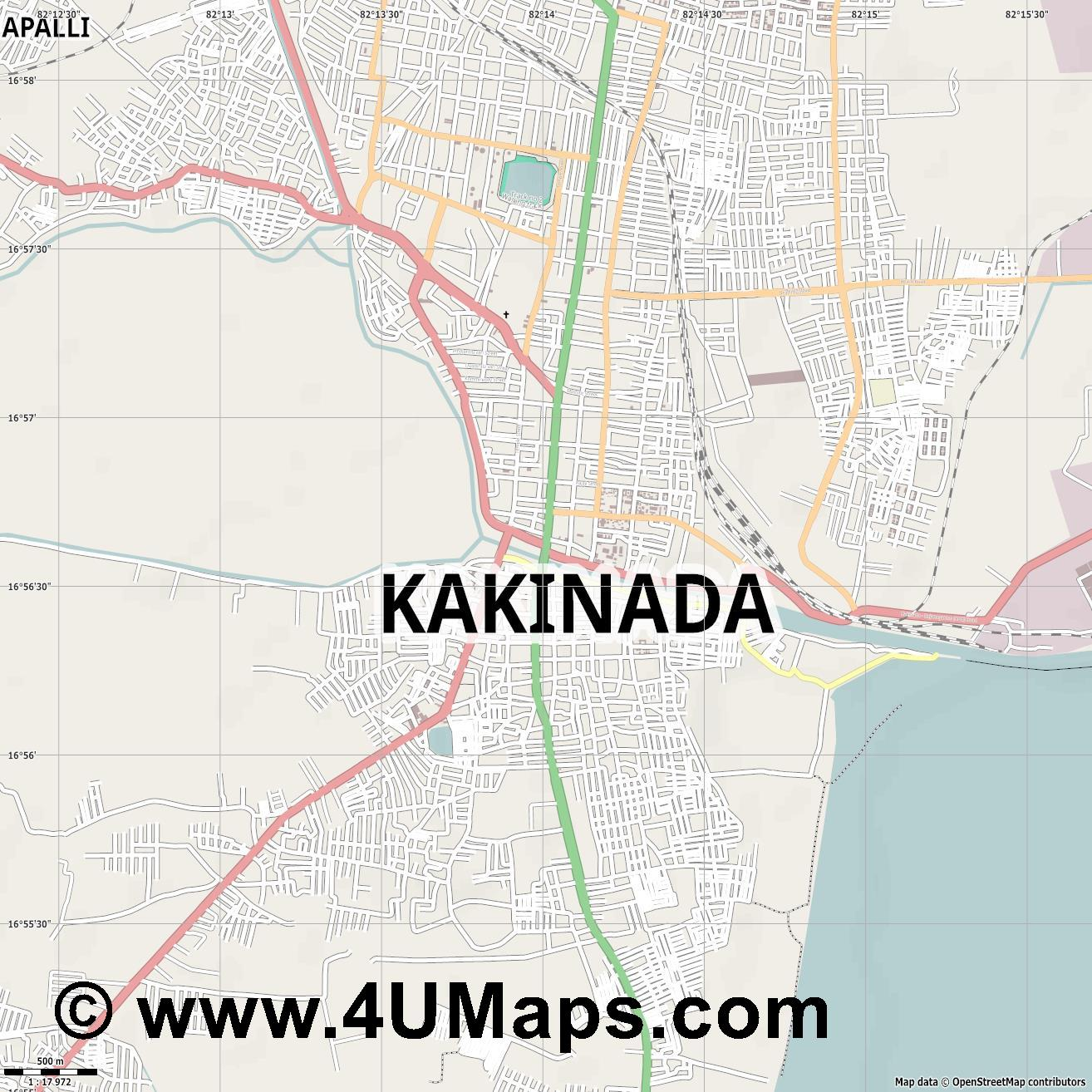 Kakinada  jpg ultra high detail preview vector city map