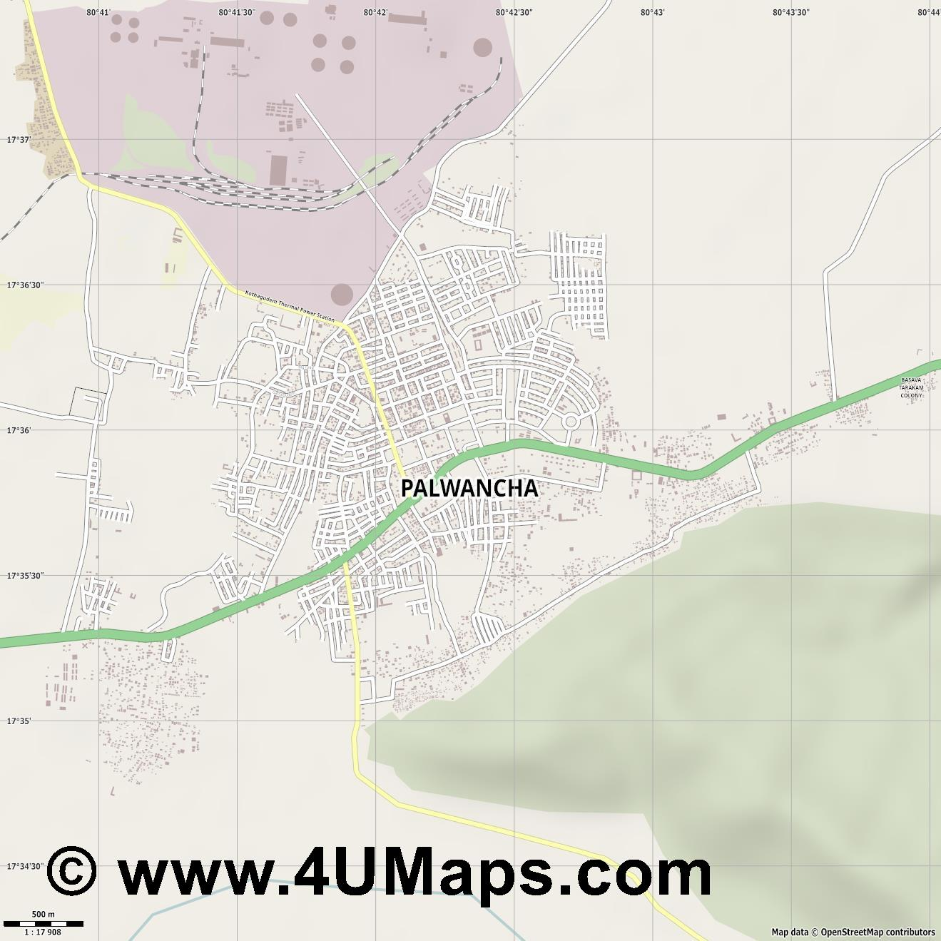 Palwancha  jpg ultra high detail preview vector city map