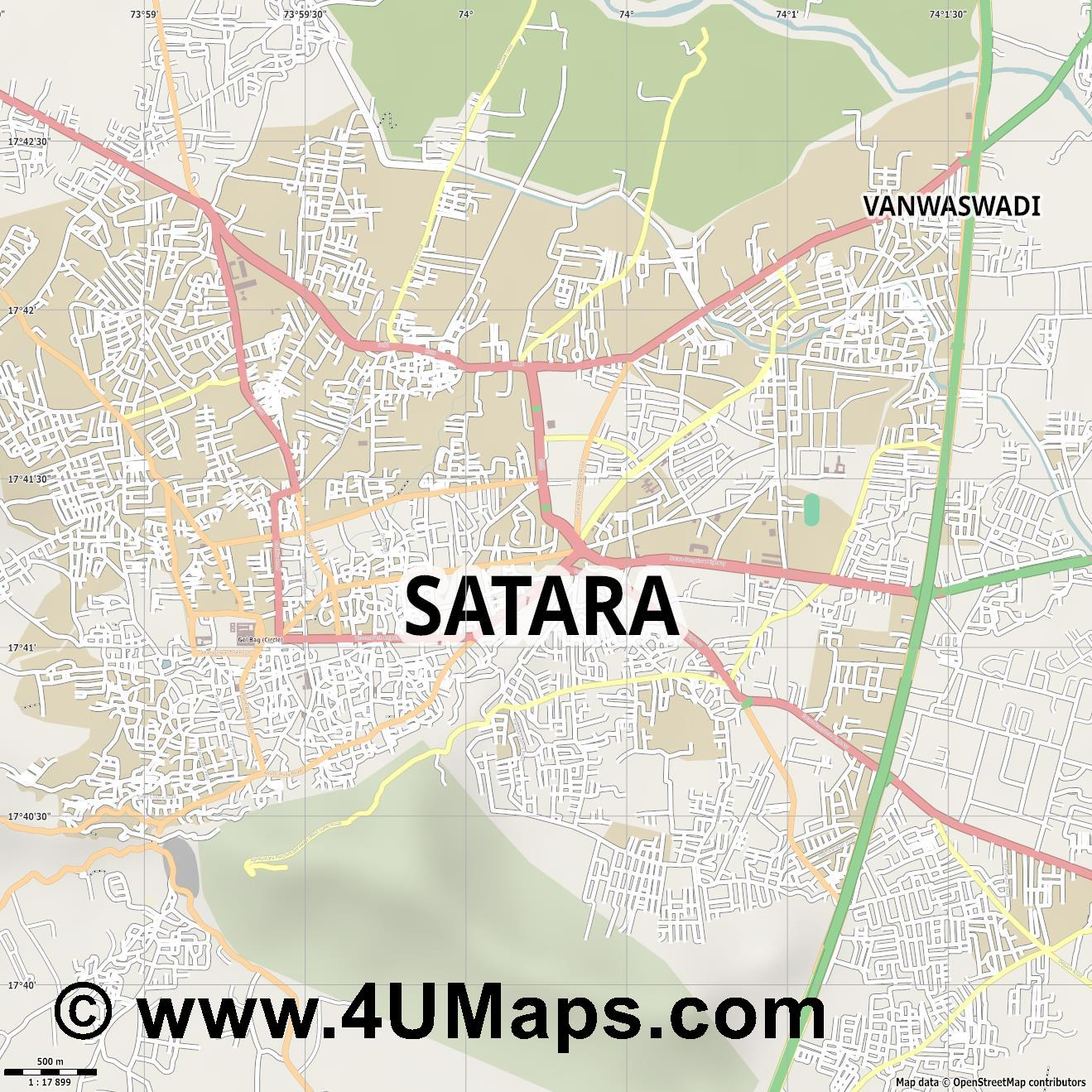 Satara  jpg ultra high detail preview vector city map
