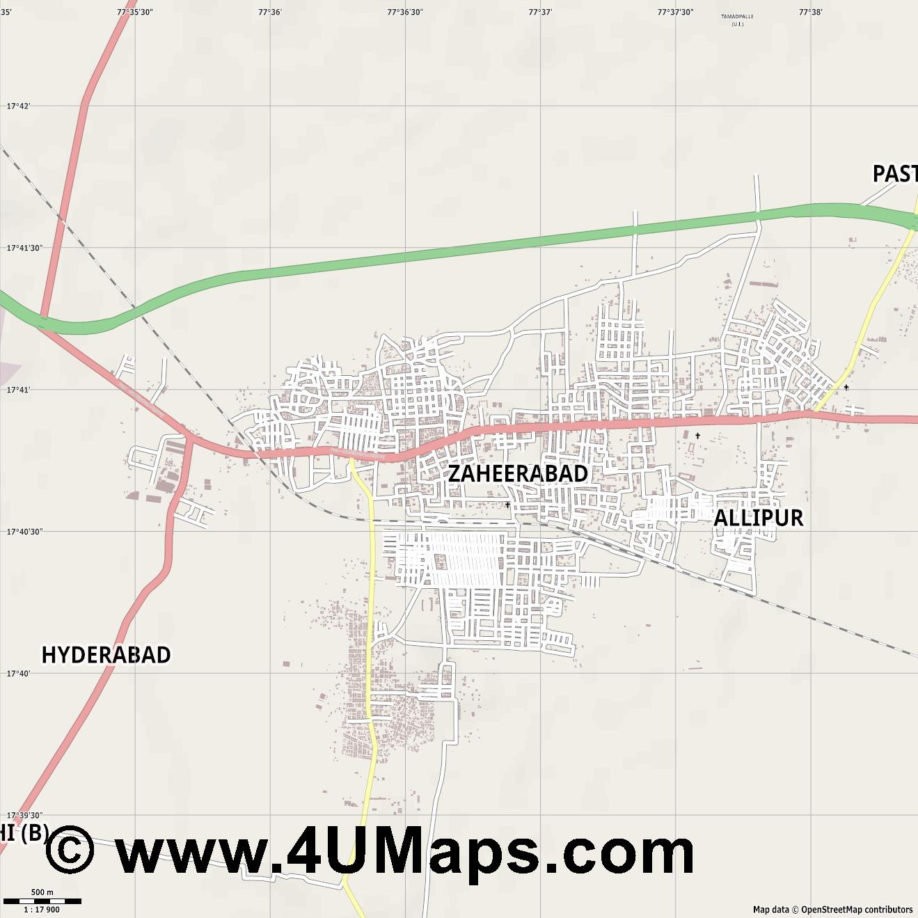 Zahirabad  jpg ultra high detail preview vector city map