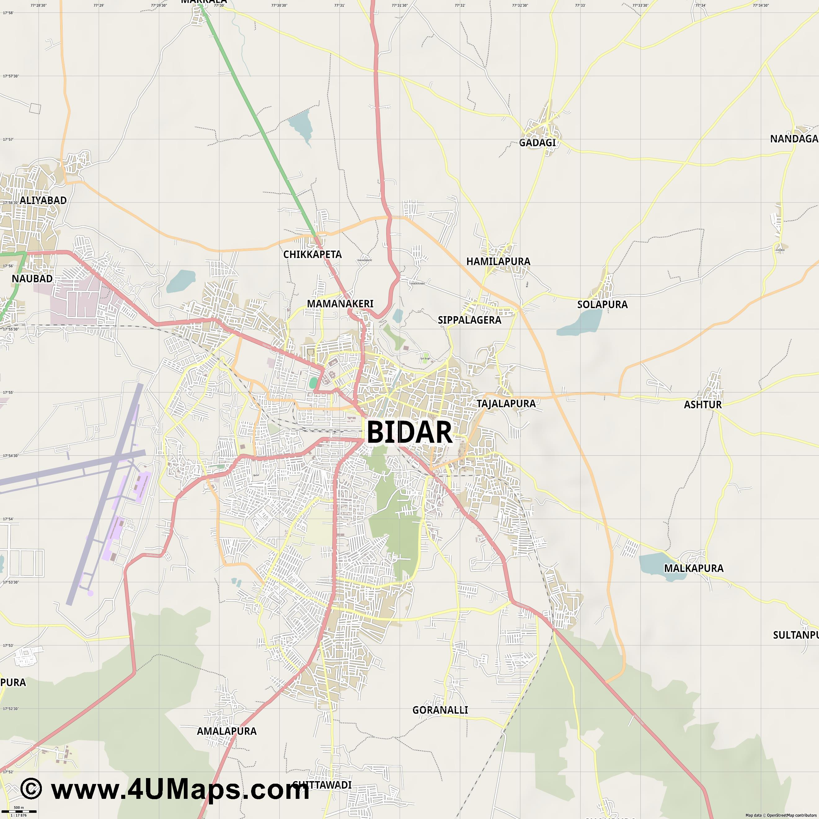 Bidar Bidara  jpg ultra high detail preview vector city map