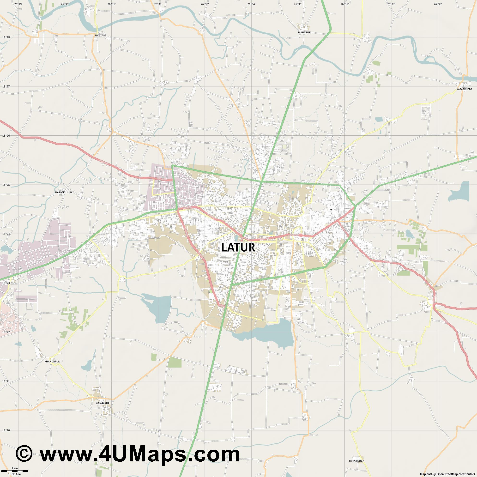 Latur  jpg high detail, large area preview vector city map