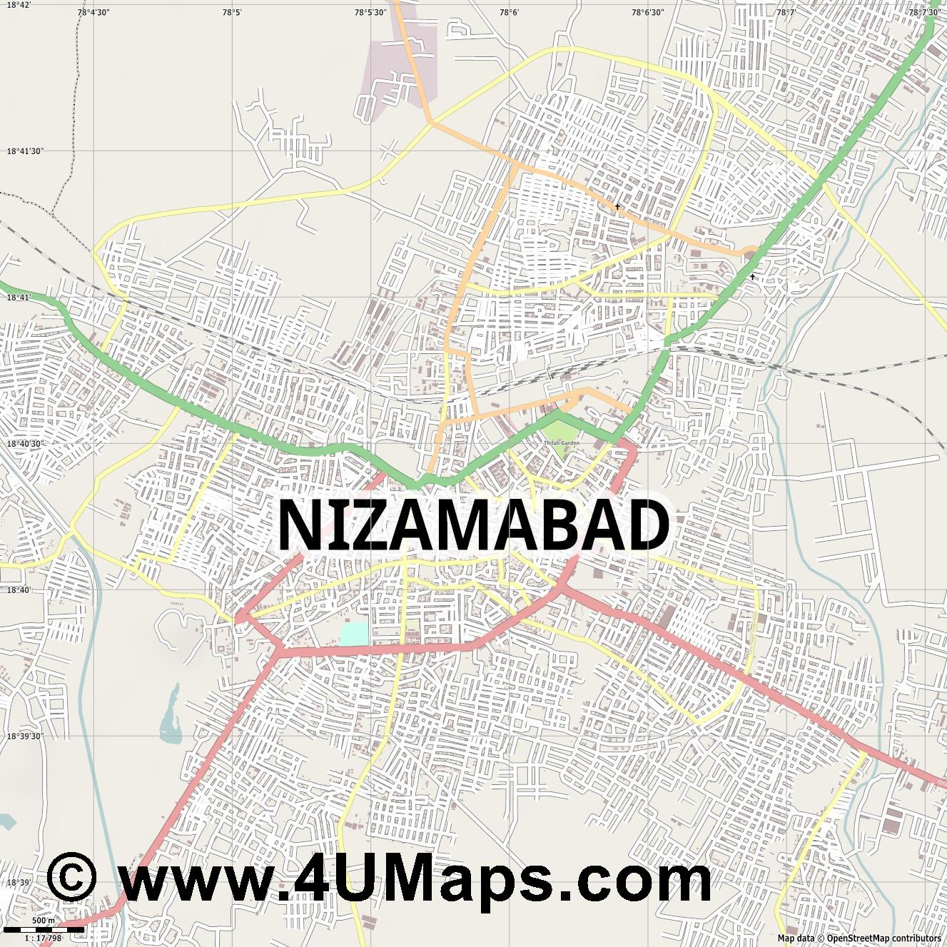 Nizamabad  jpg ultra high detail preview vector city map