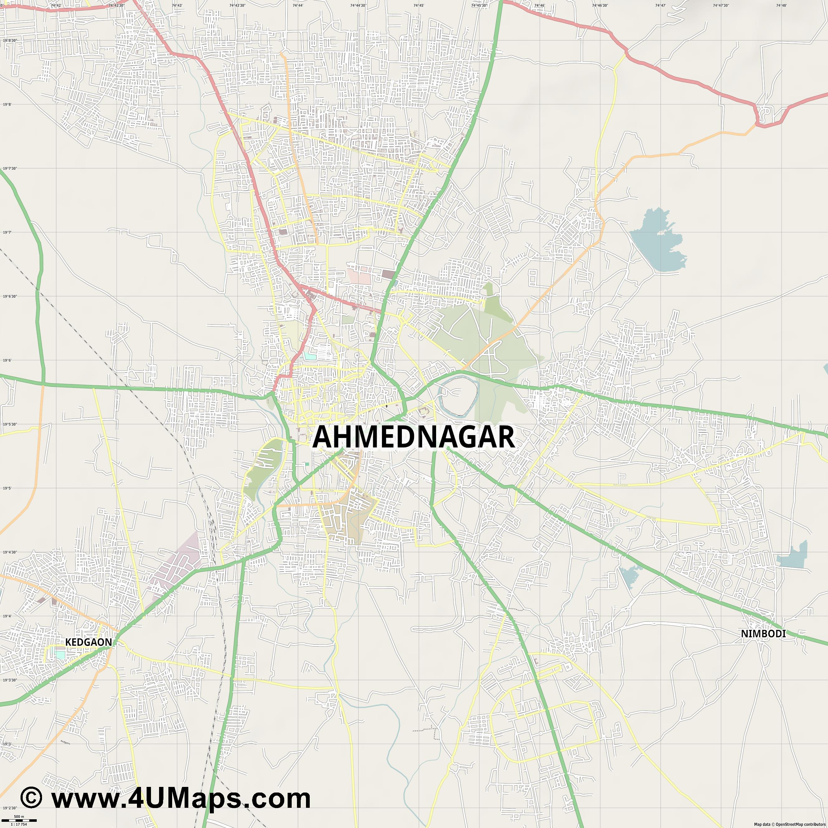 Ahmadnagar  jpg ultra high detail preview vector city map
