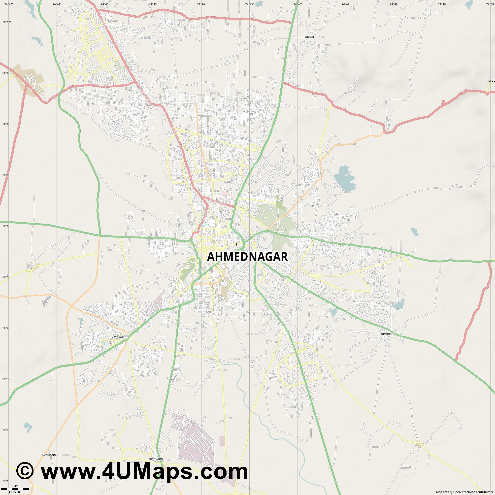 Ahmadnagar  jpg high detail, large area preview vector city map