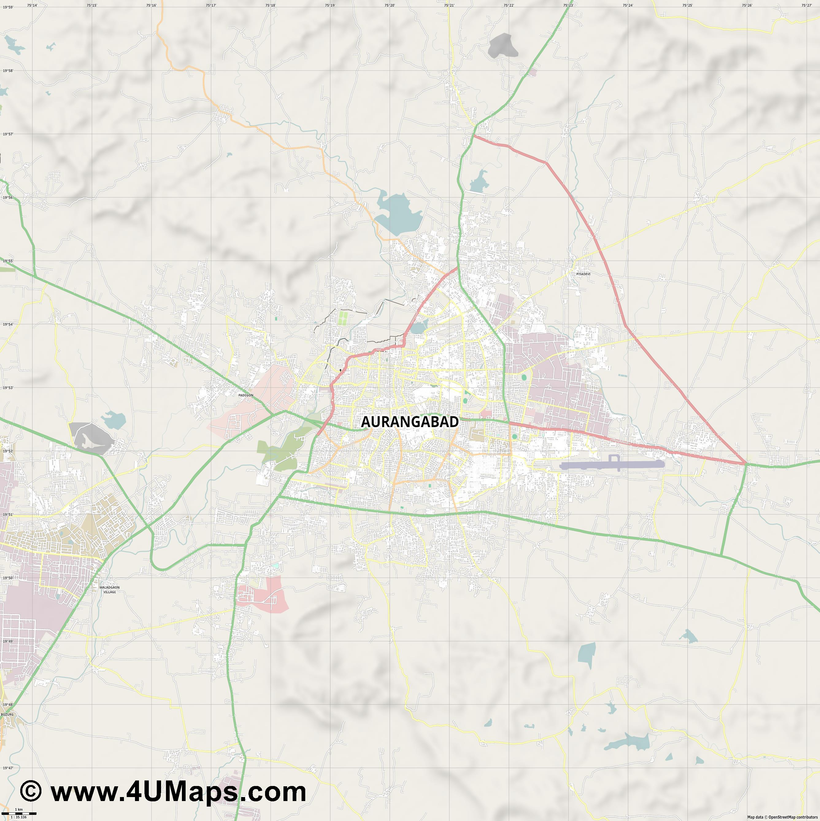 Aurangabad  jpg high detail, large area preview vector city map