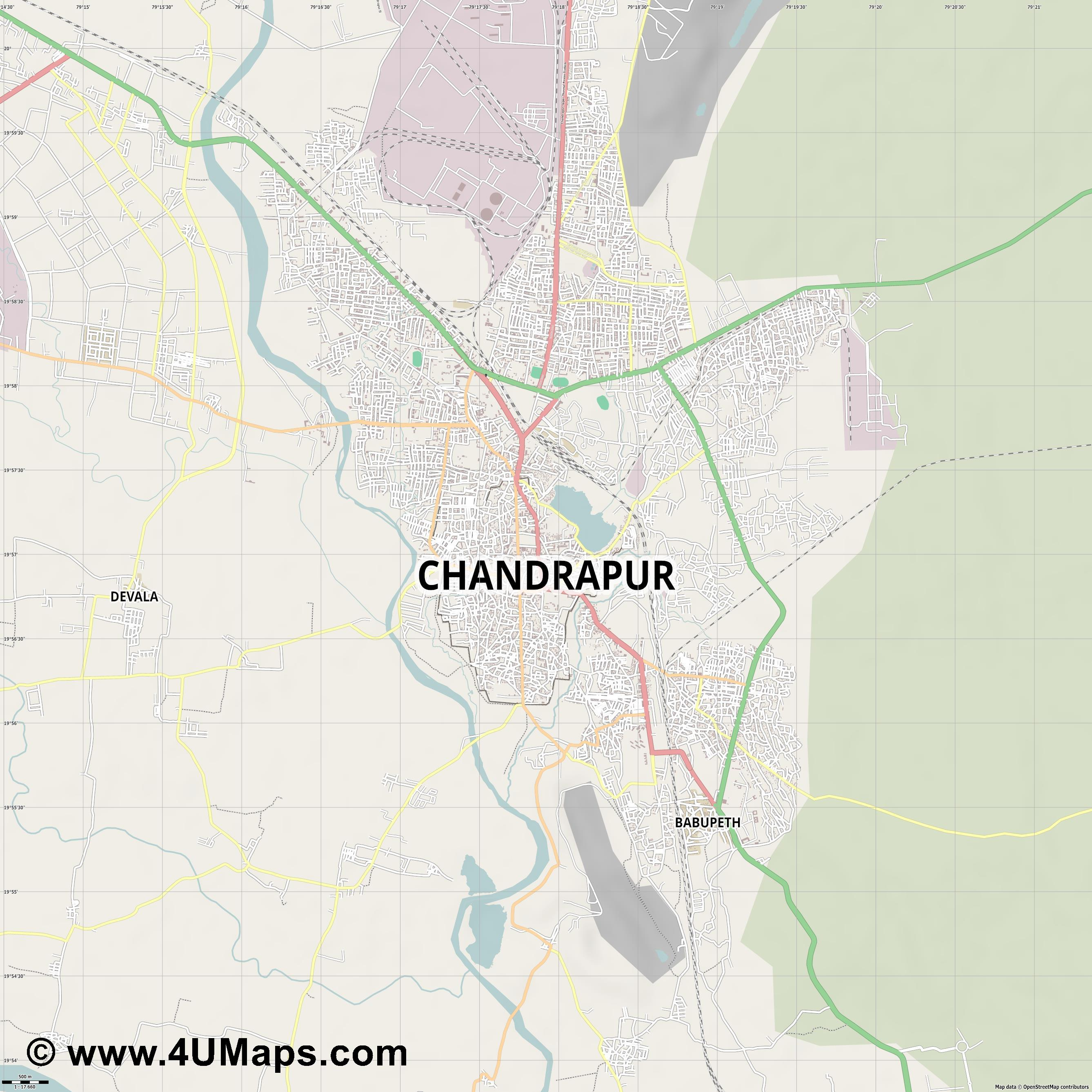 Chandrapur  jpg ultra high detail preview vector city map