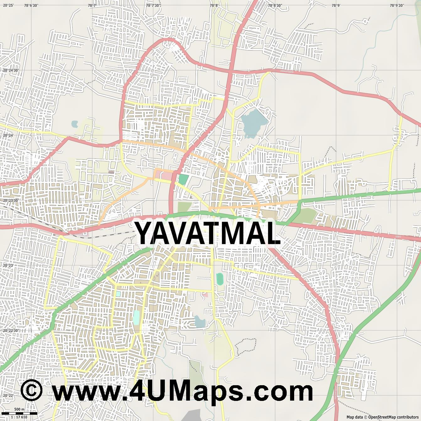 Yavatmal  jpg ultra high detail preview vector city map