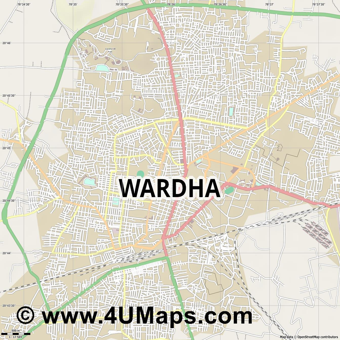Wardha  jpg ultra high detail preview vector city map