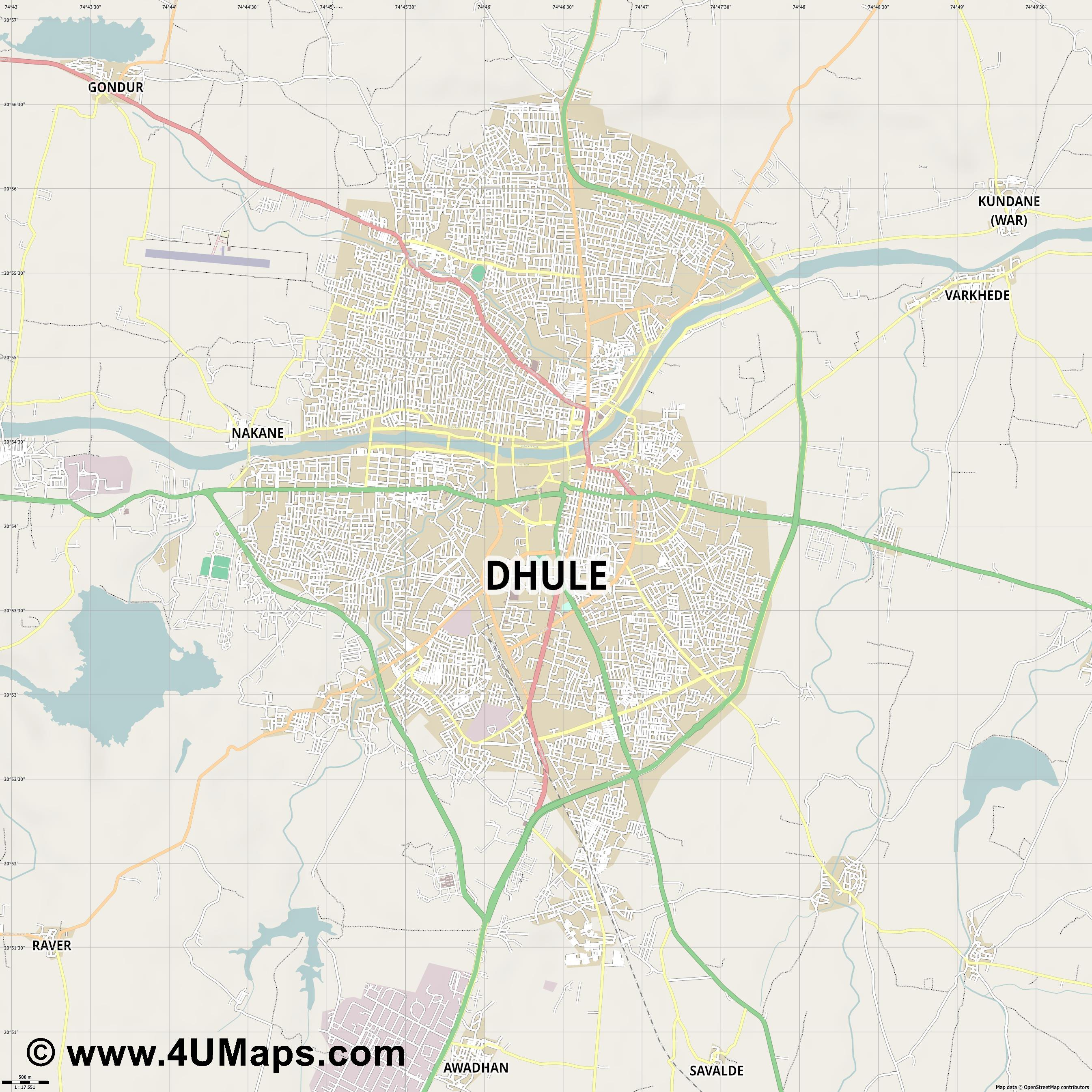 Dhule  jpg ultra high detail preview vector city map