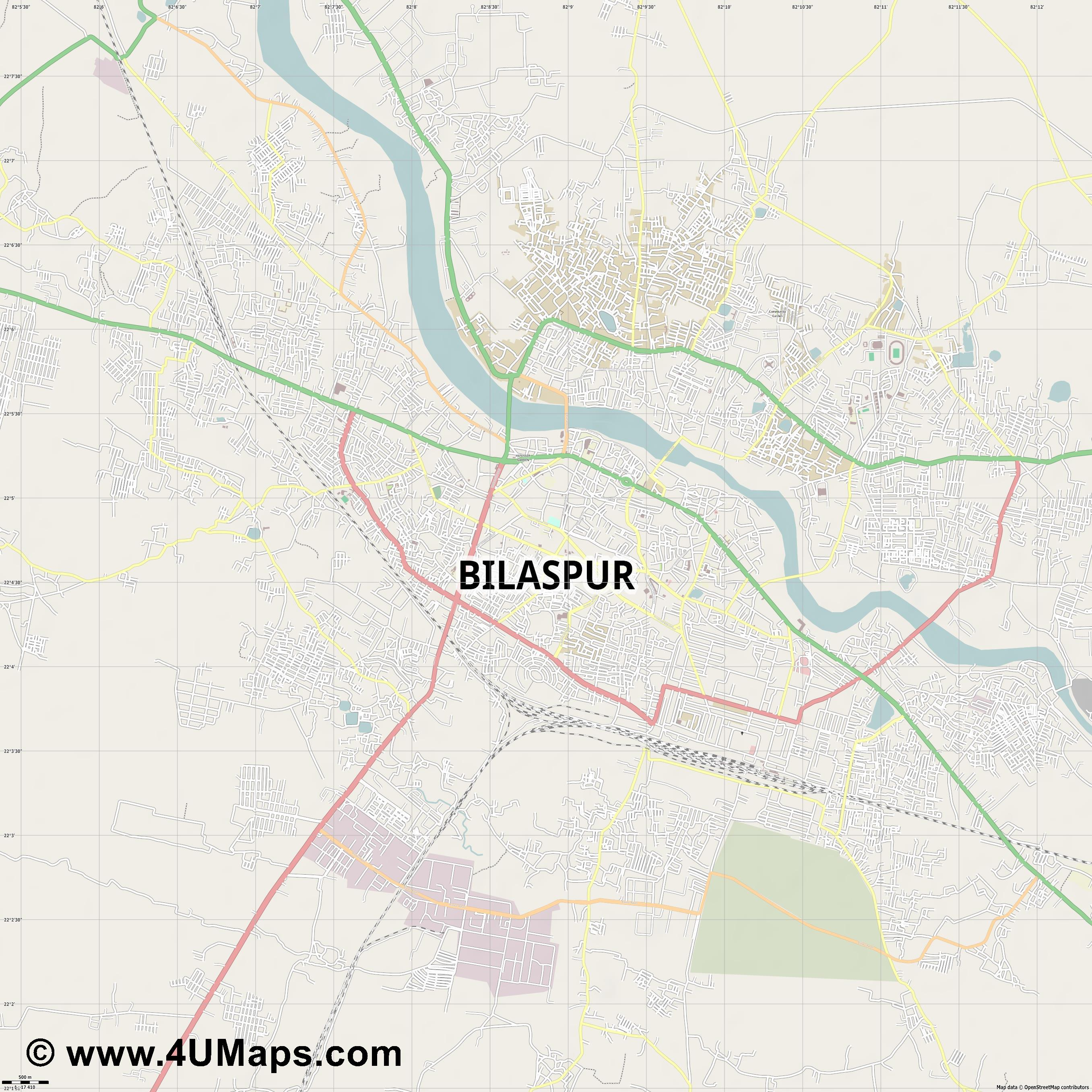 Bilaspur  jpg ultra high detail preview vector city map