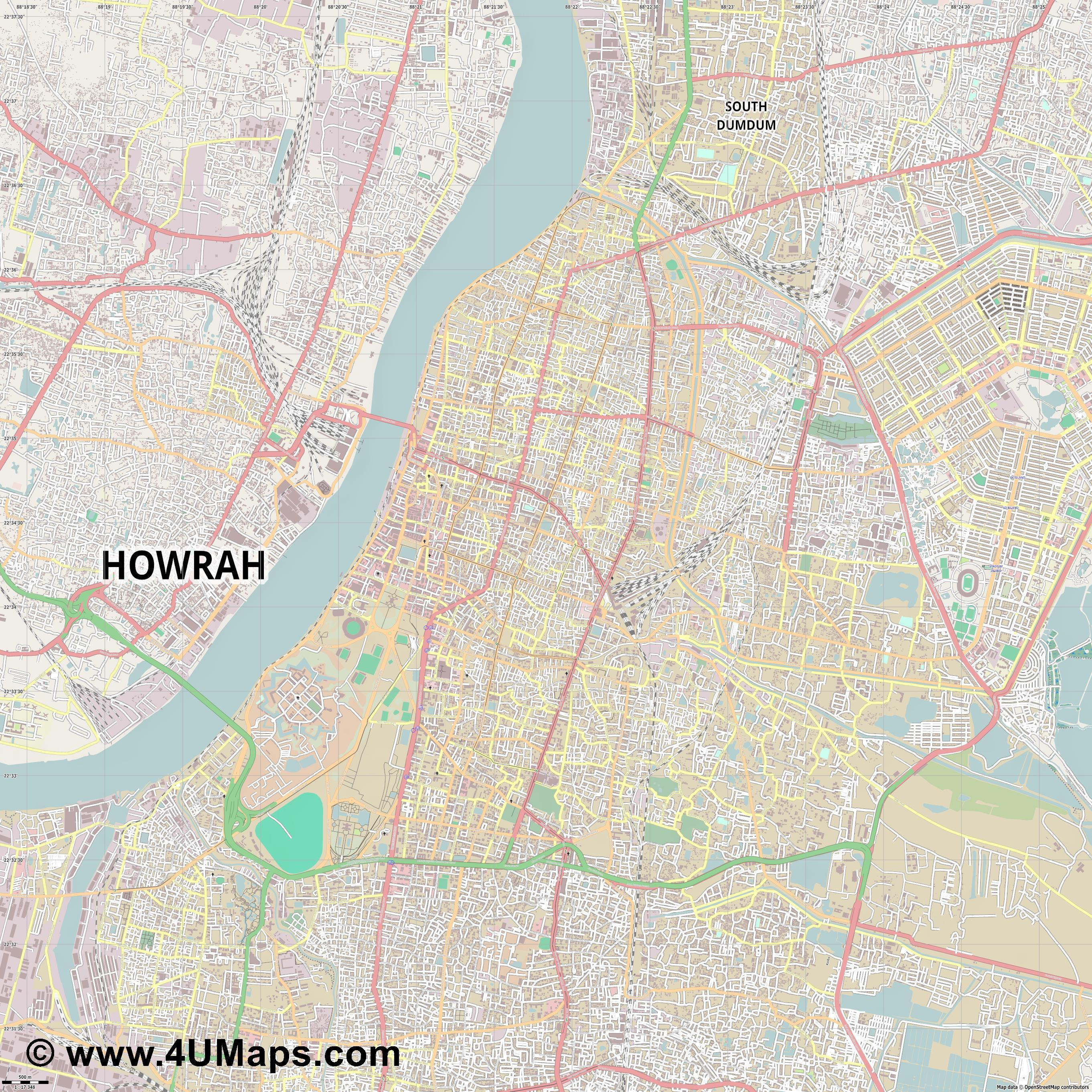 Kolkata Calcuta Calcutta Kalkutta  jpg ultra high detail preview vector city map