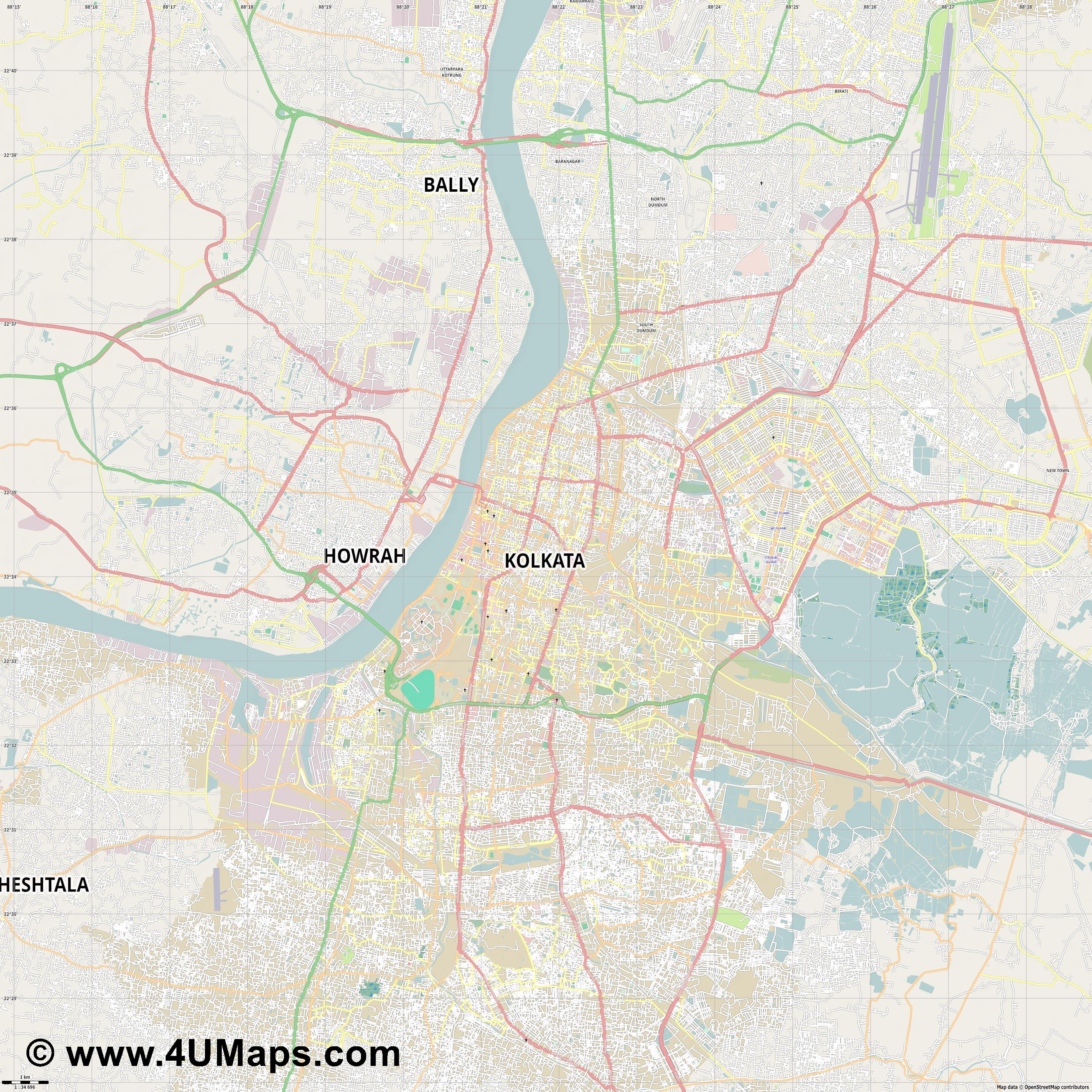 Kolkata Calcuta Calcutta Kalkutta  jpg high detail, large area preview vector city map