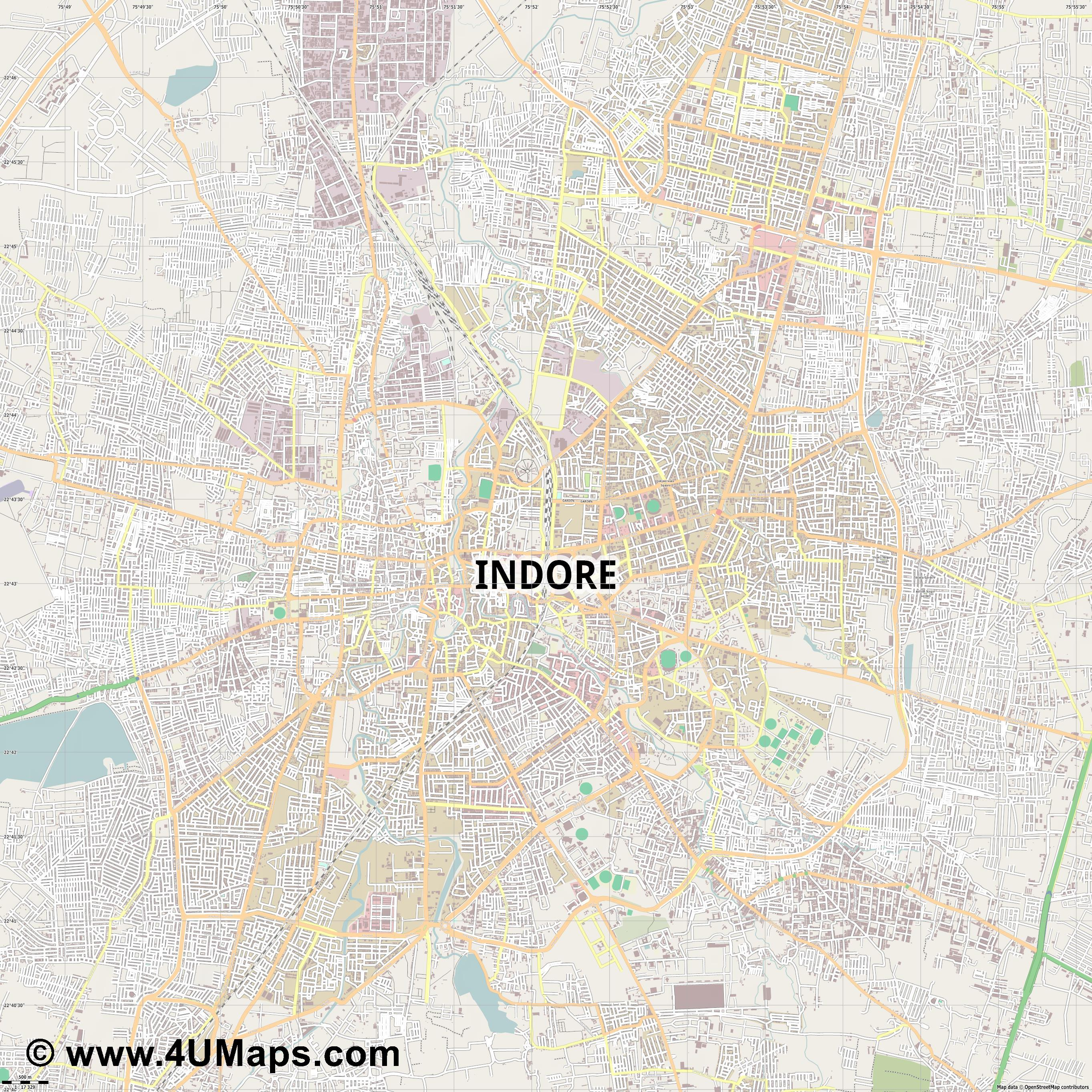 Indore  jpg ultra high detail preview vector city map
