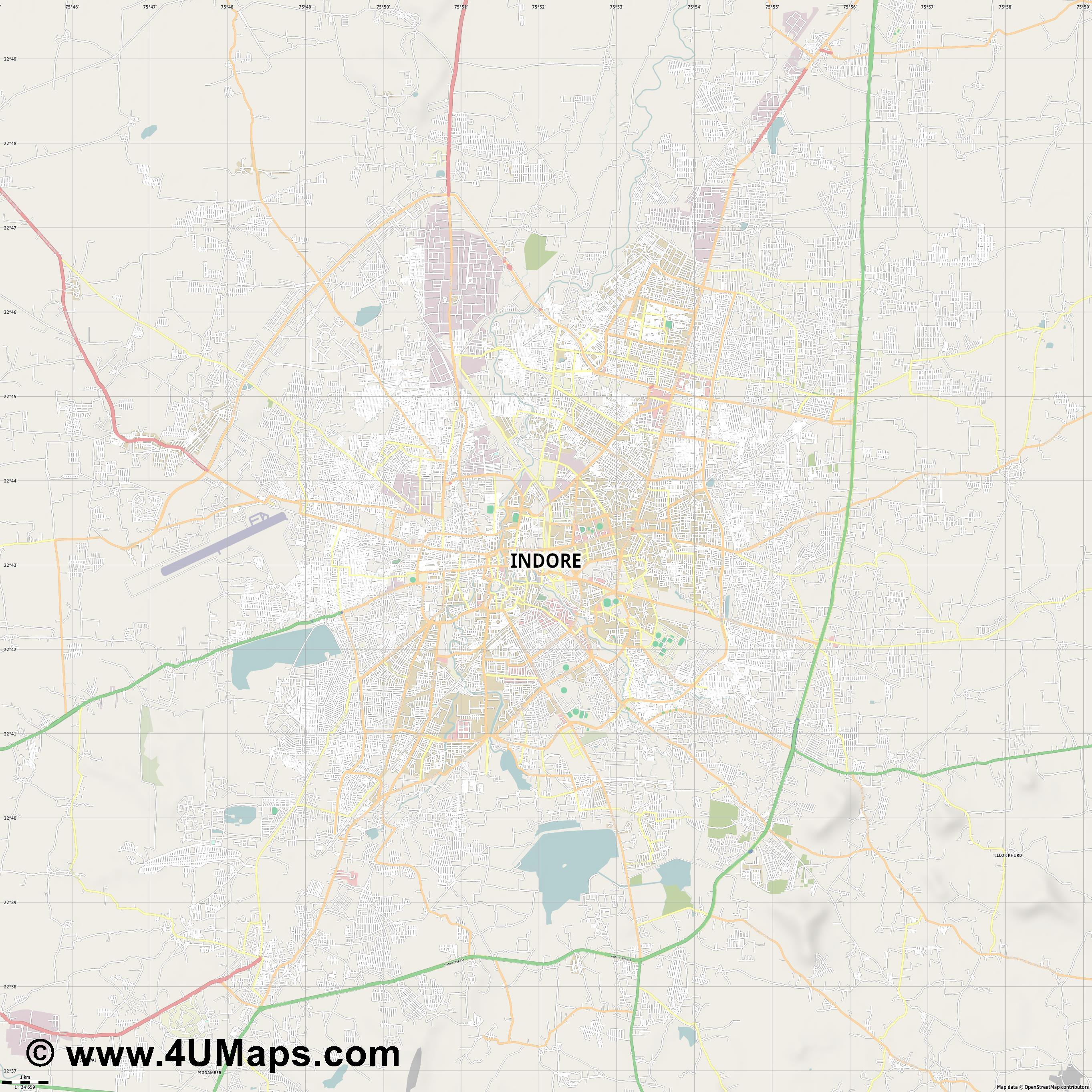 Indore  jpg high detail, large area preview vector city map
