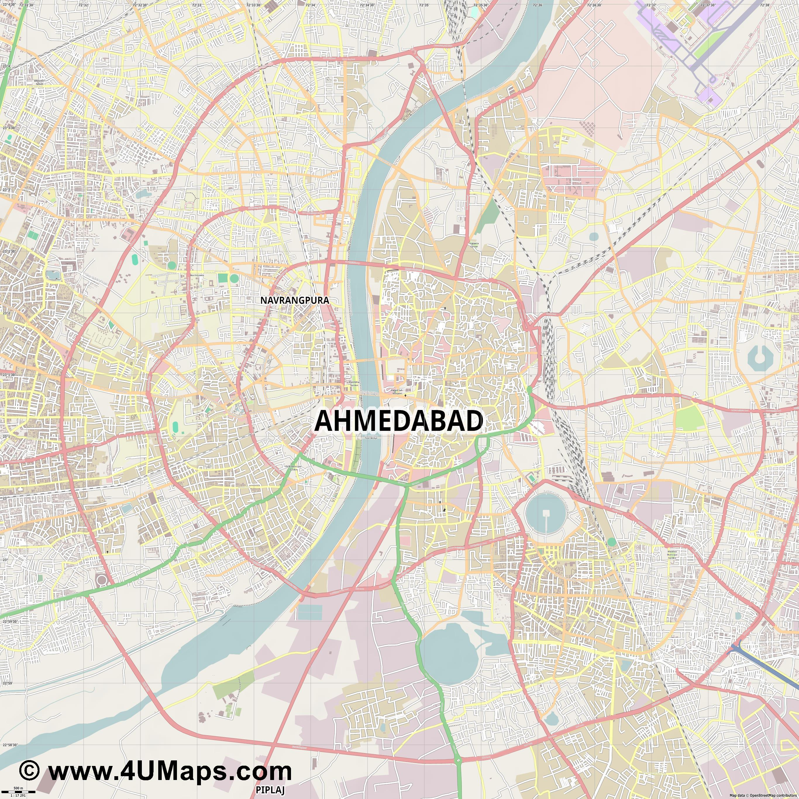 Ahmedabad  jpg ultra high detail preview vector city map