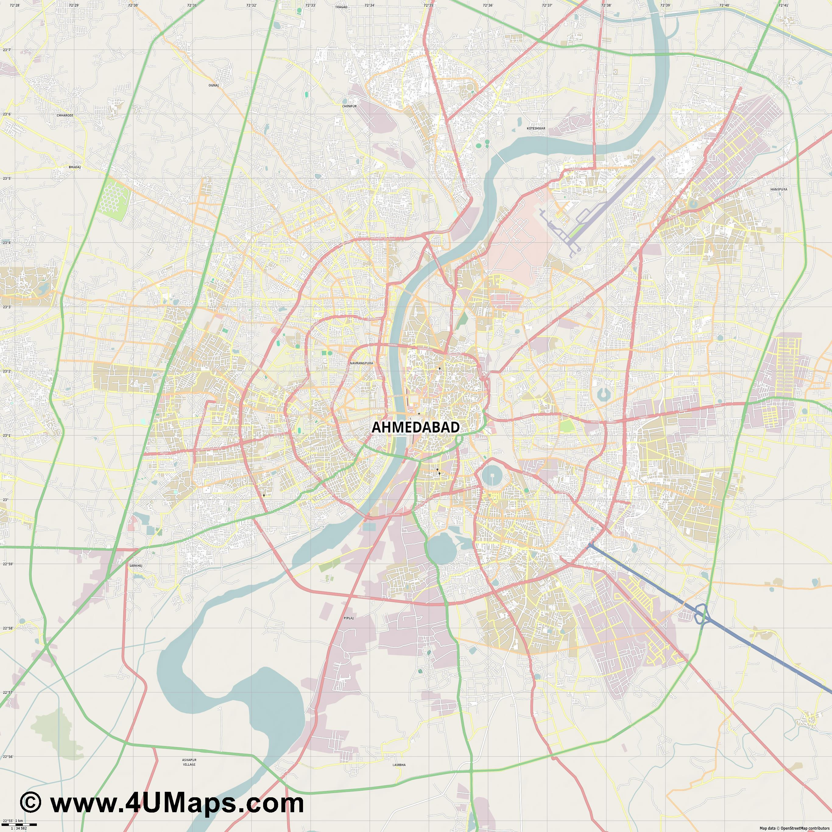 Ahmedabad  jpg high detail, large area preview vector city map