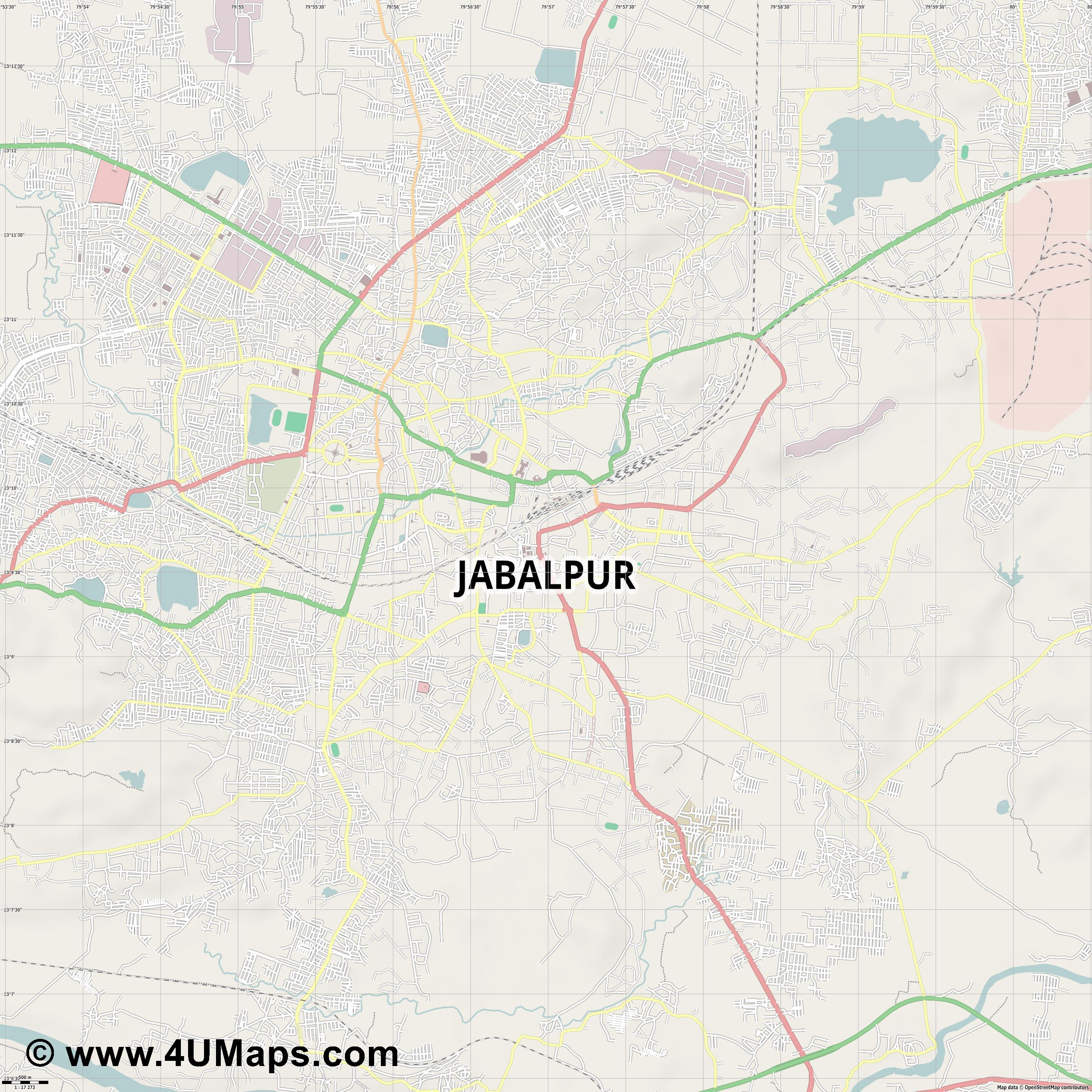 Jabalpur  jpg ultra high detail preview vector city map