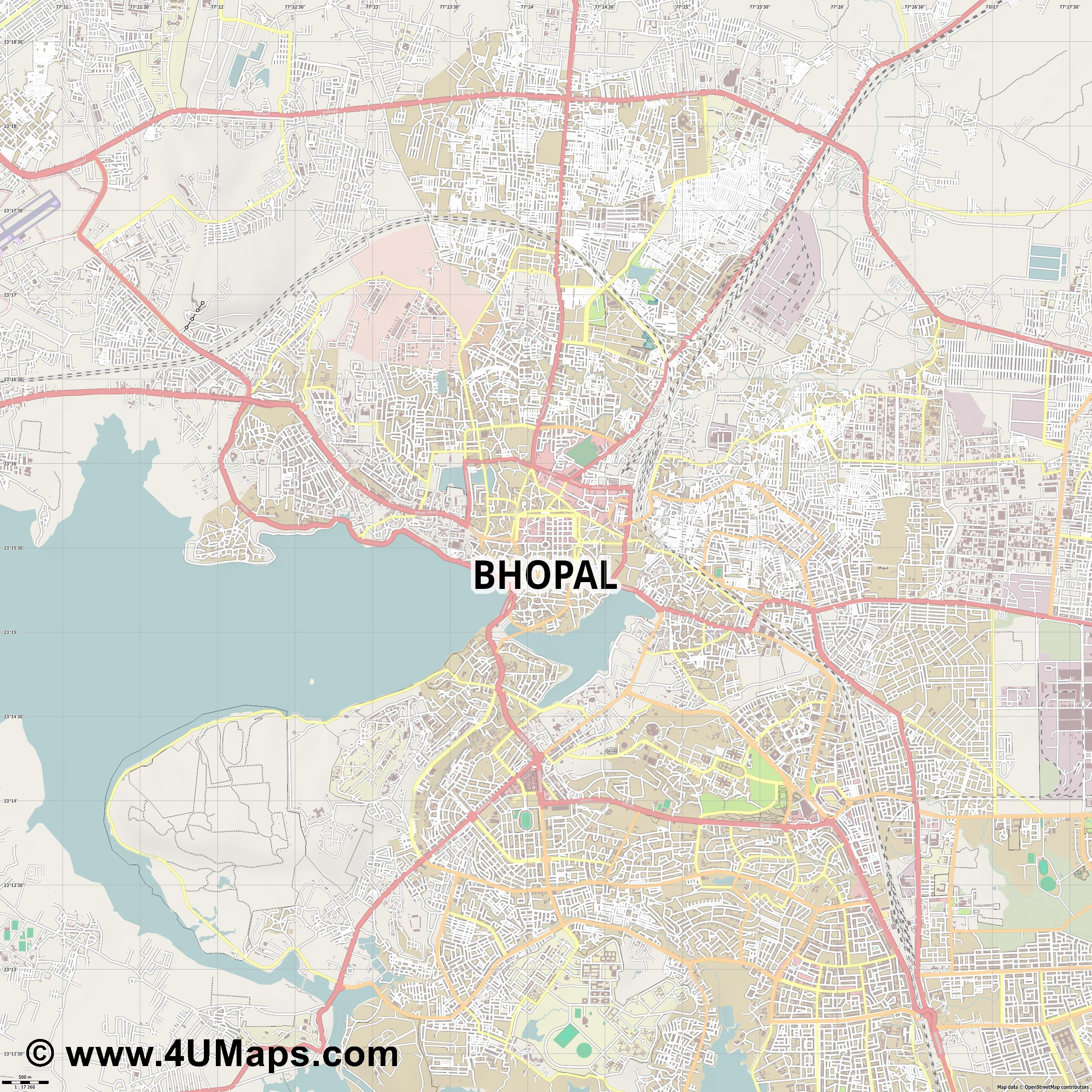 Bhopal  jpg ultra high detail preview vector city map
