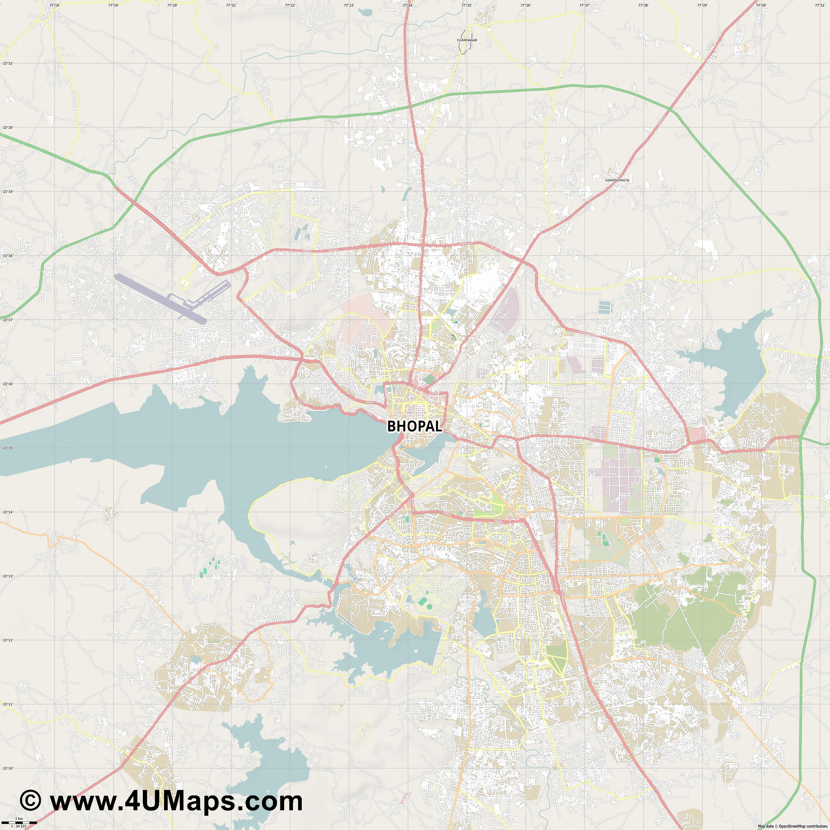 Bhopal  jpg high detail, large area preview vector city map