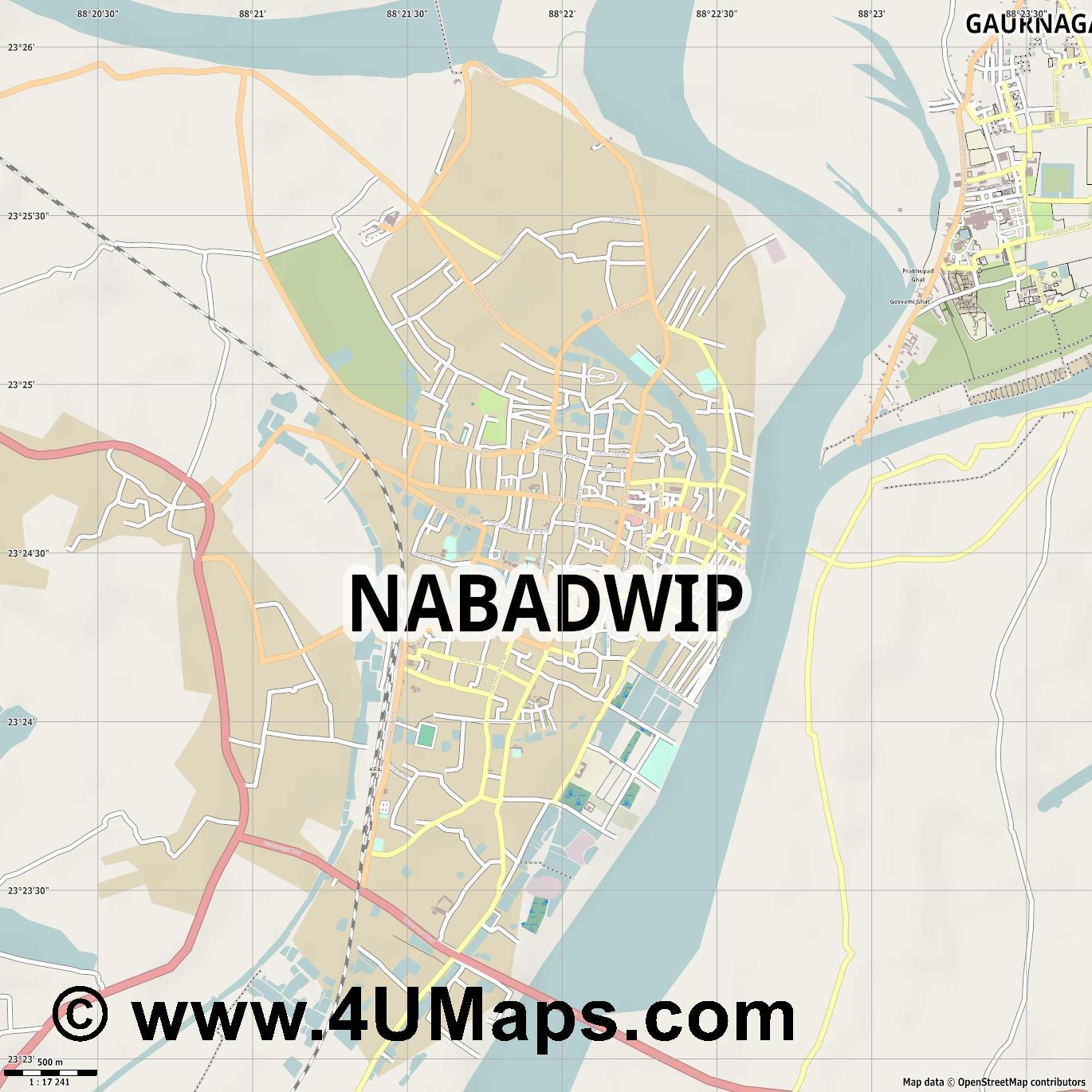 Navadwip  jpg ultra high detail preview vector city map
