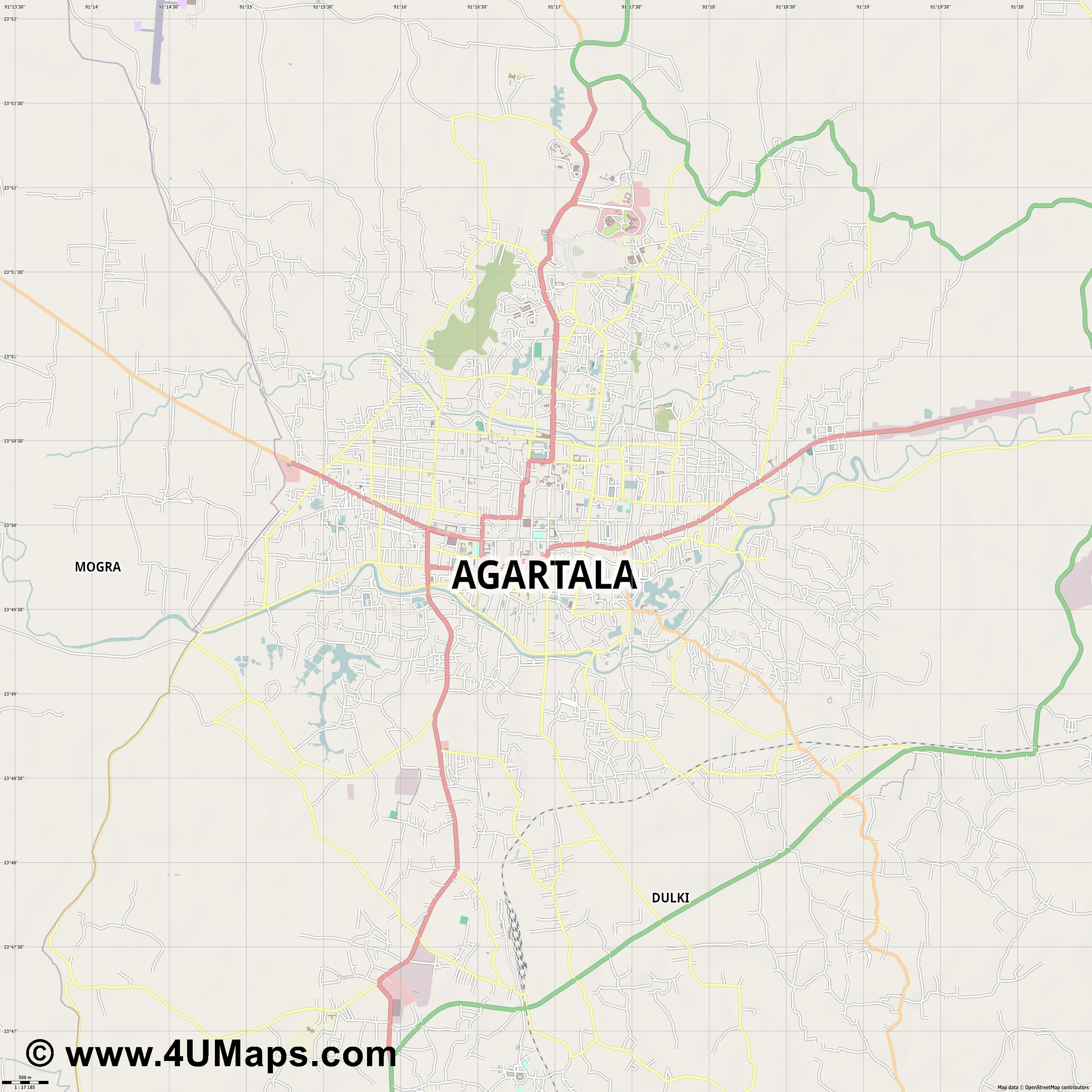 Agartala  jpg ultra high detail preview vector city map