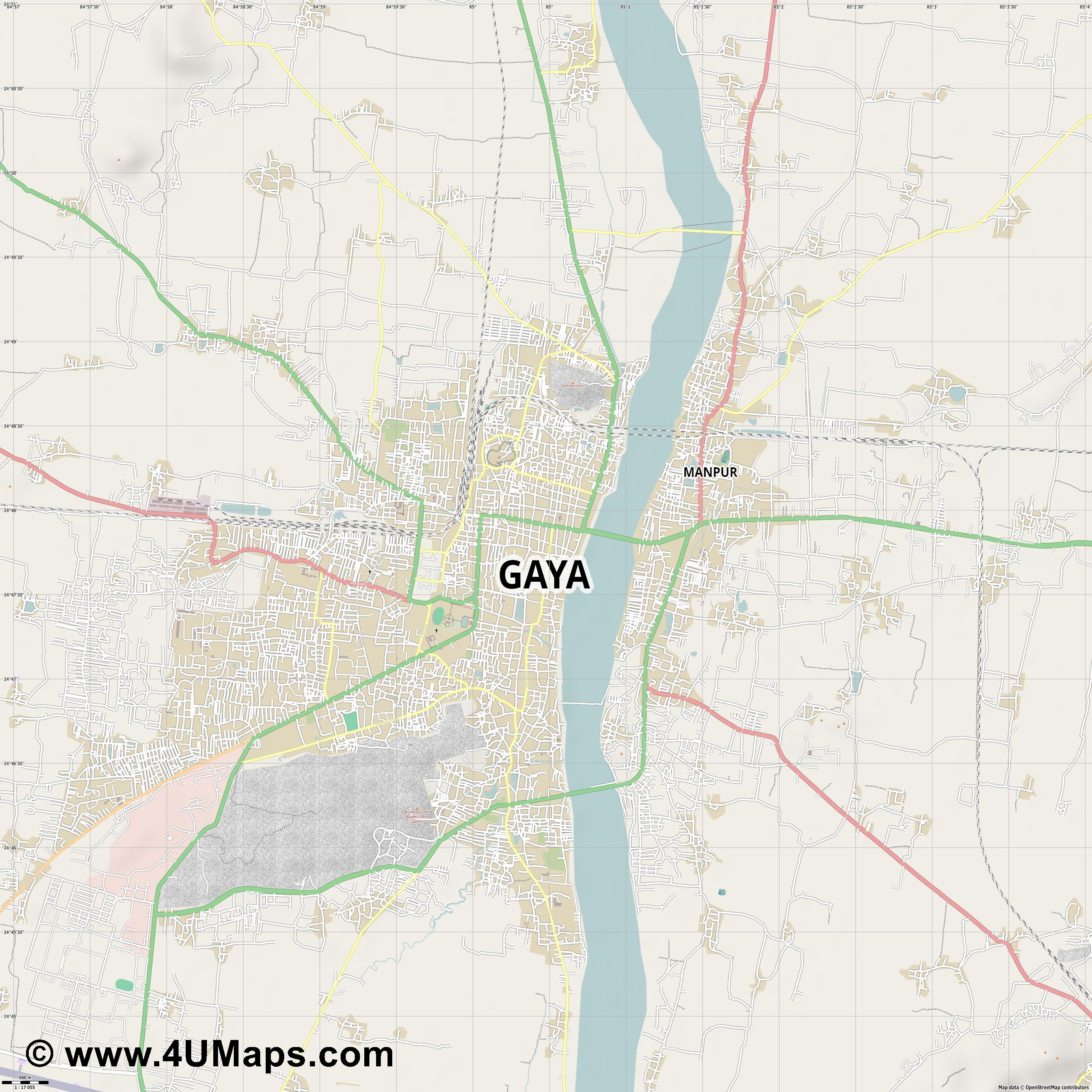 Gaya  jpg ultra high detail preview vector city map