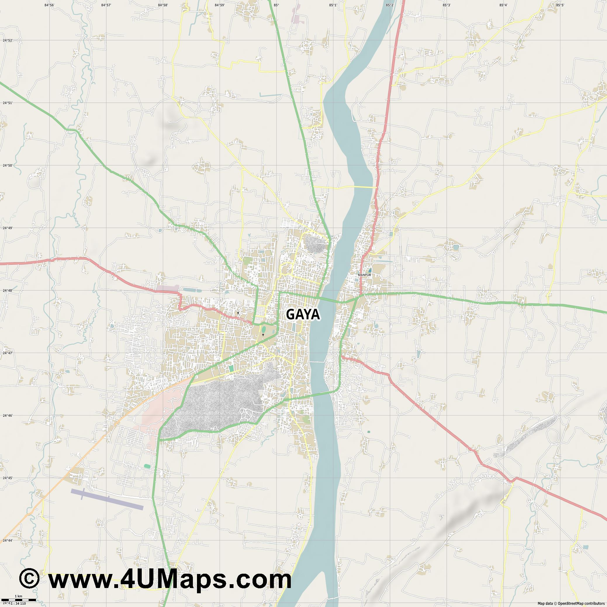 Gaya  jpg high detail, large area preview vector city map
