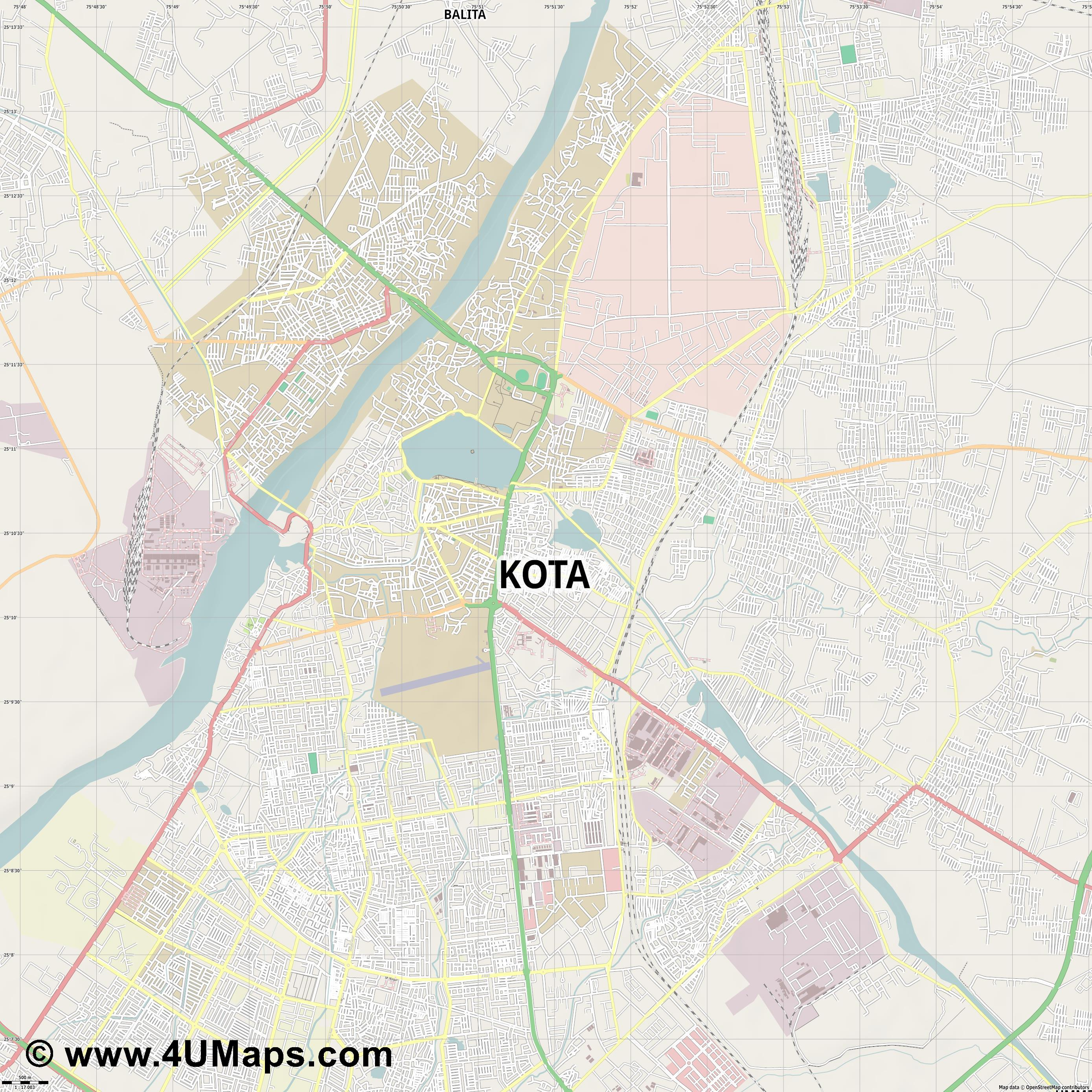 Kota  jpg ultra high detail preview vector city map
