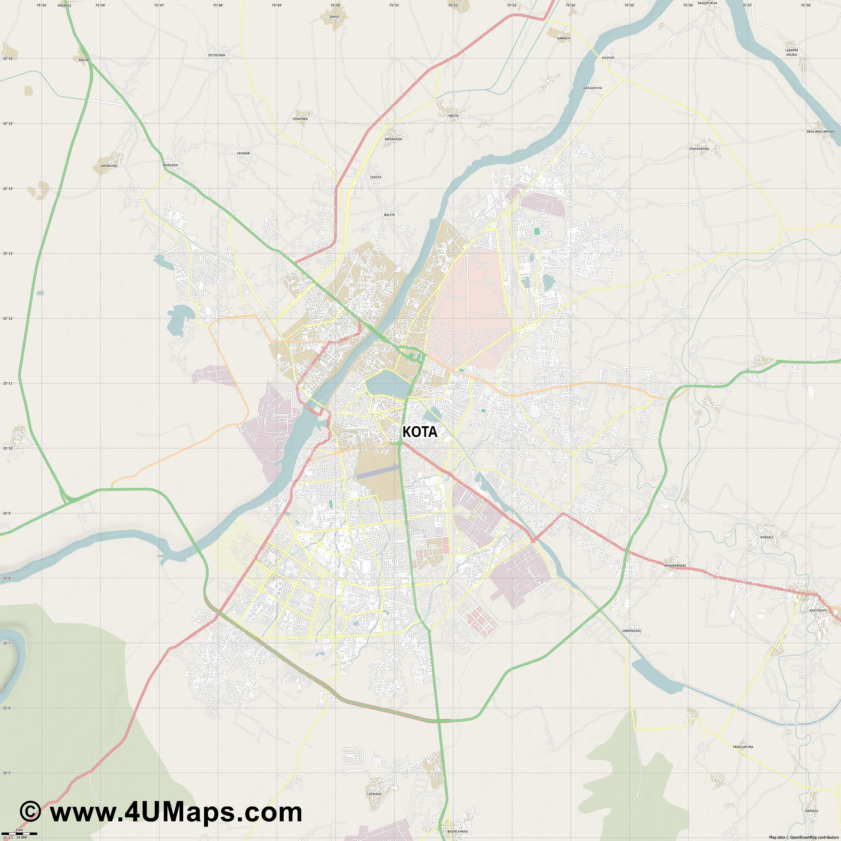 Kota  jpg high detail, large area preview vector city map