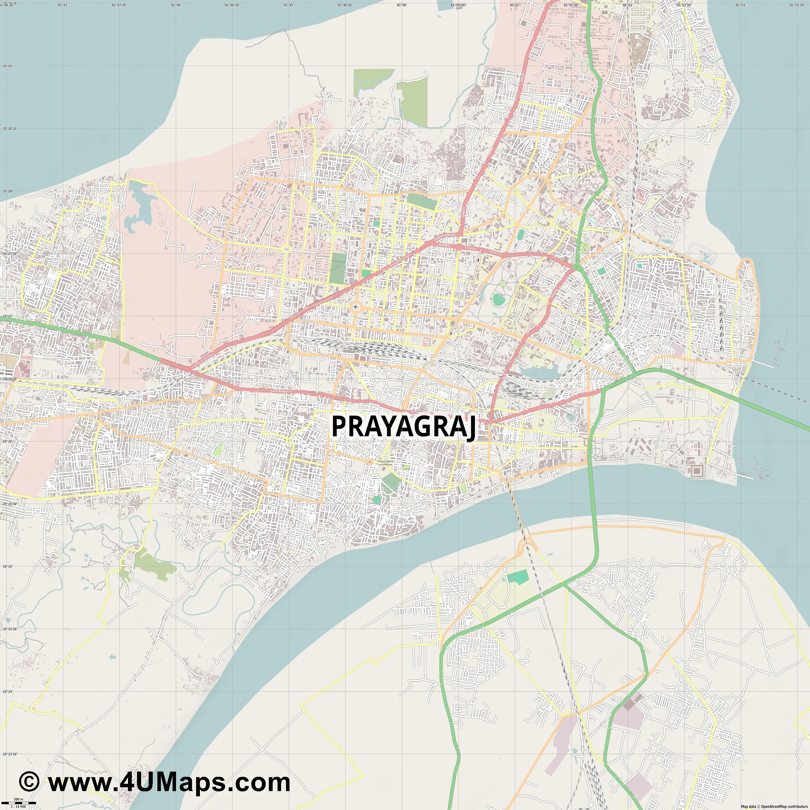 Allahabad  jpg ultra high detail preview vector city map