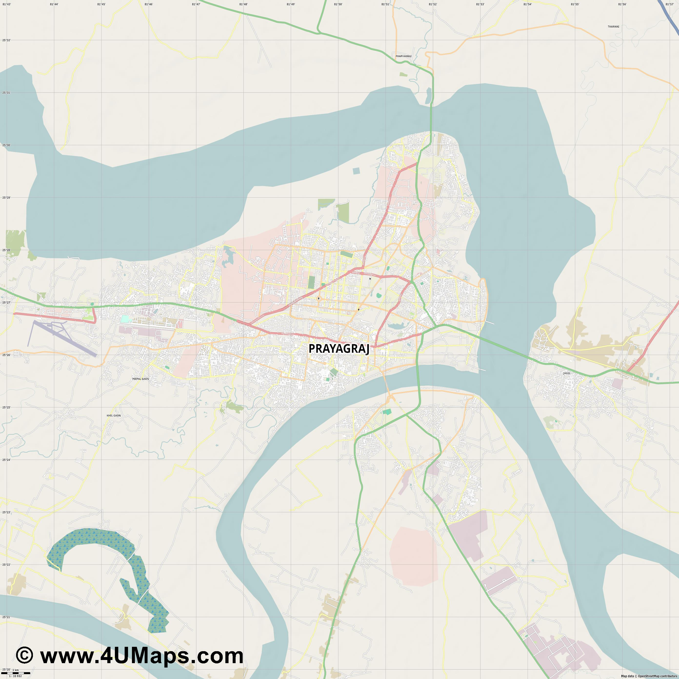 Allahabad  jpg high detail, large area preview vector city map