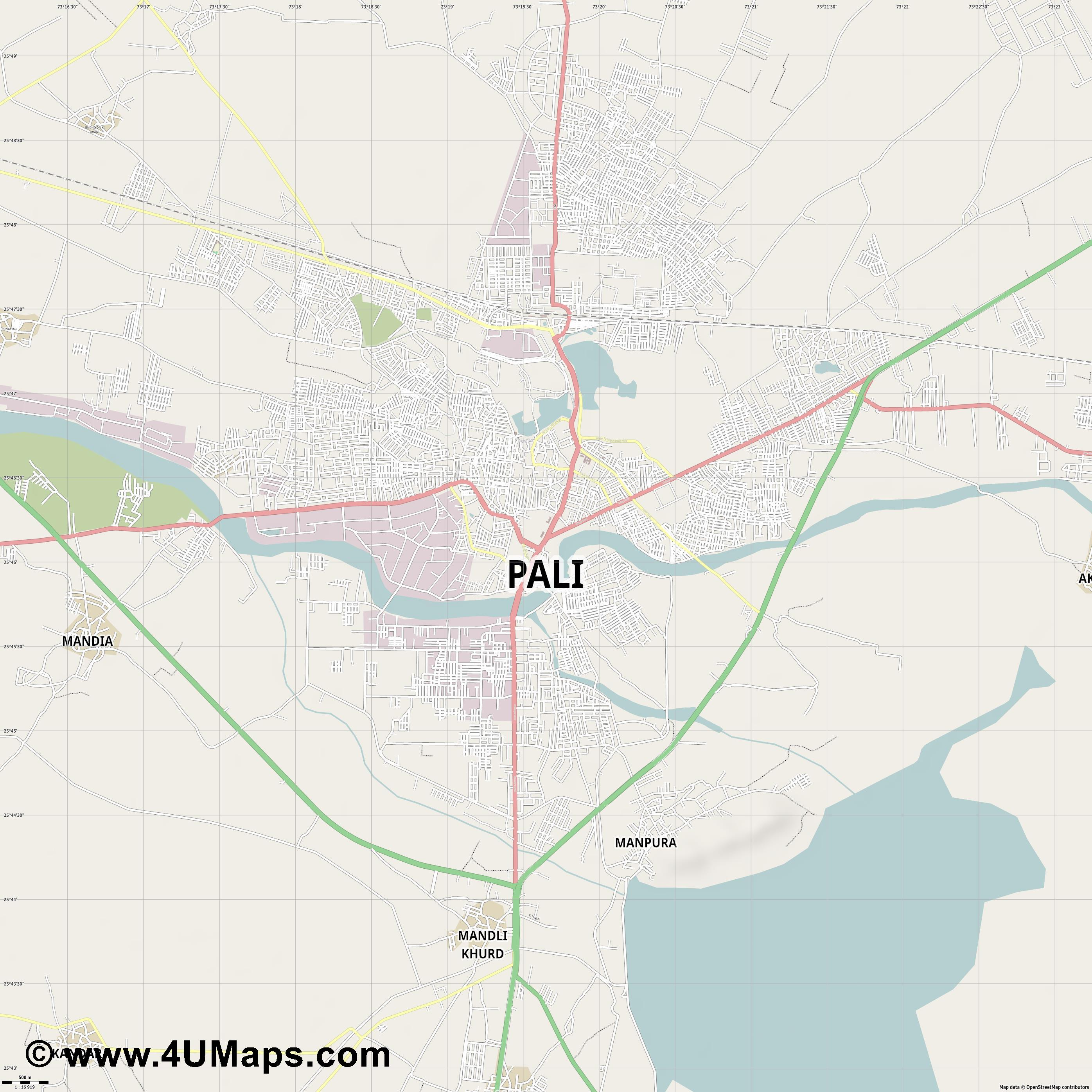 Pali  jpg ultra high detail preview vector city map