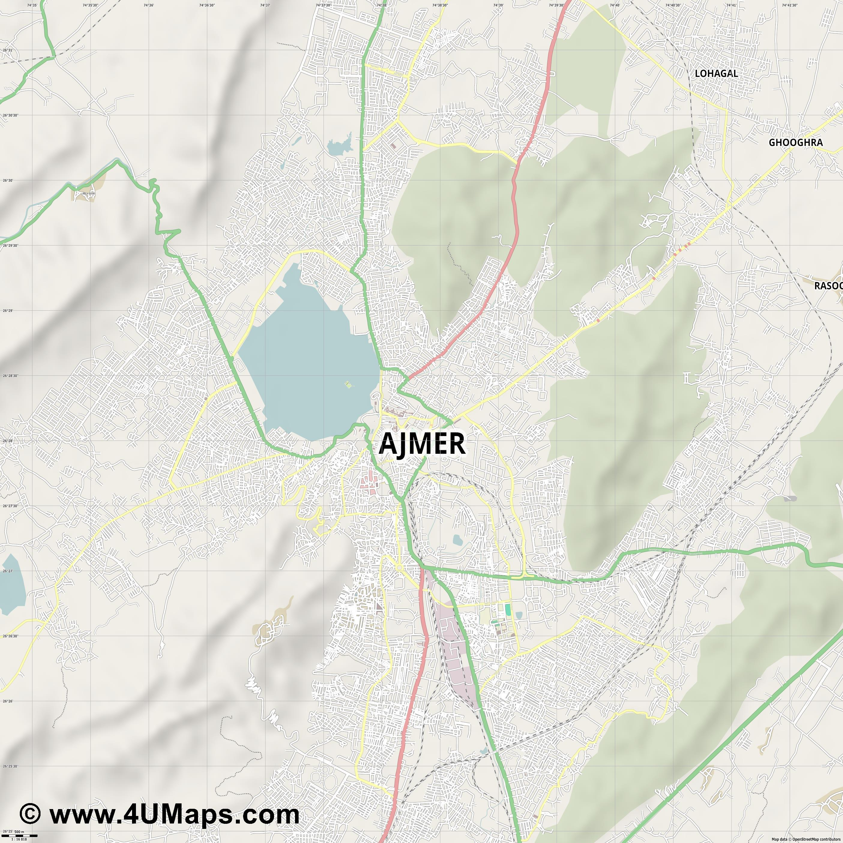 Ajmer  jpg ultra high detail preview vector city map