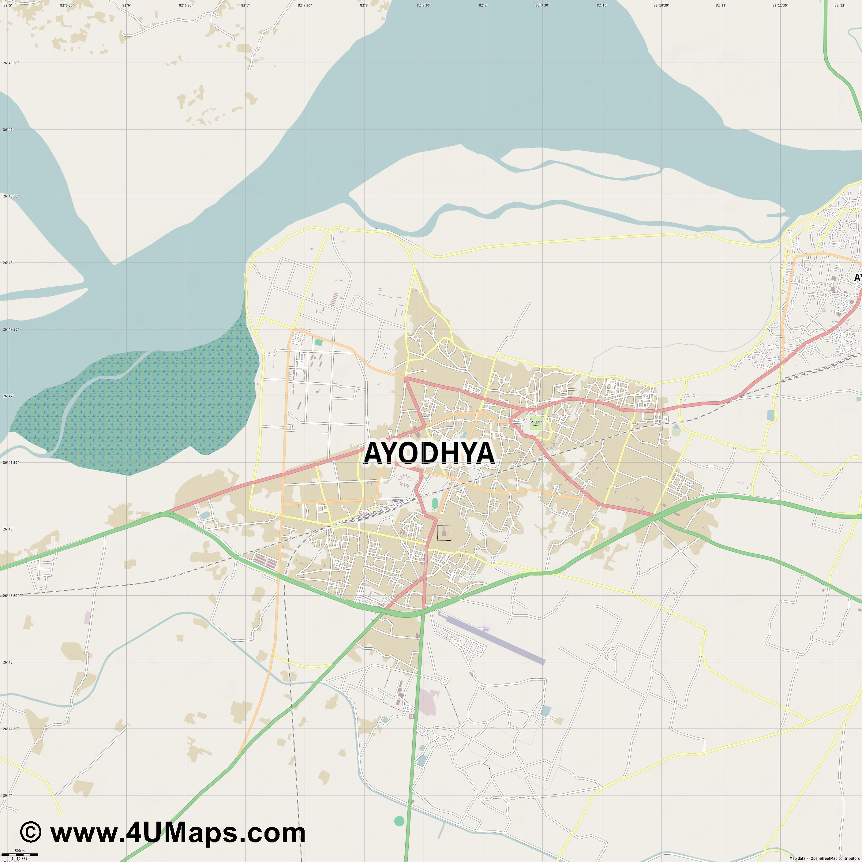 Faizabad  jpg ultra high detail preview vector city map