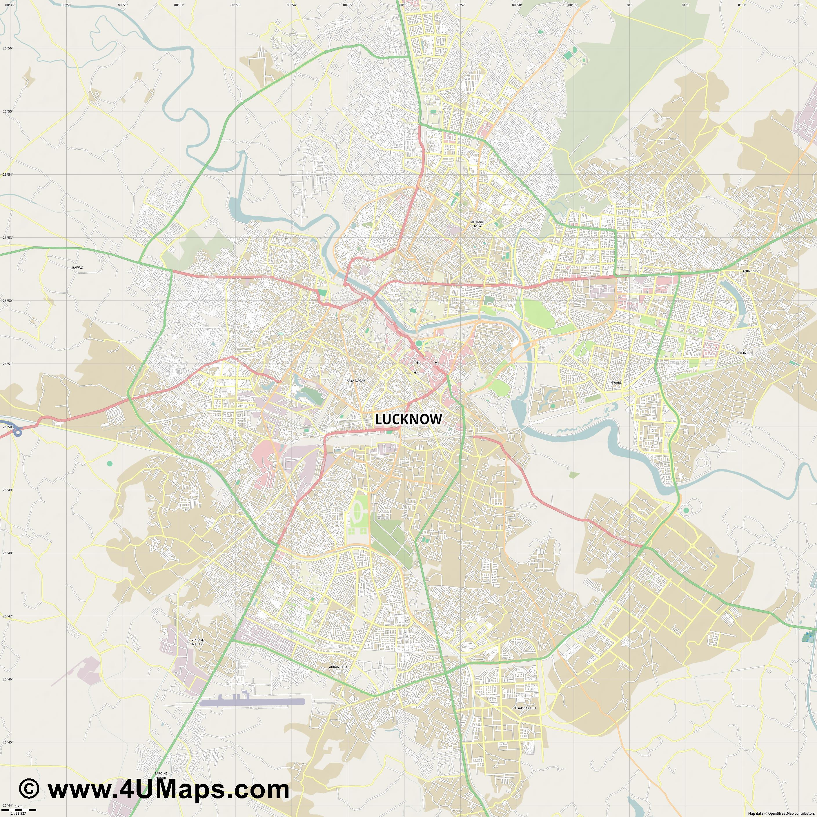 Lucknow  jpg high detail, large area preview vector city map