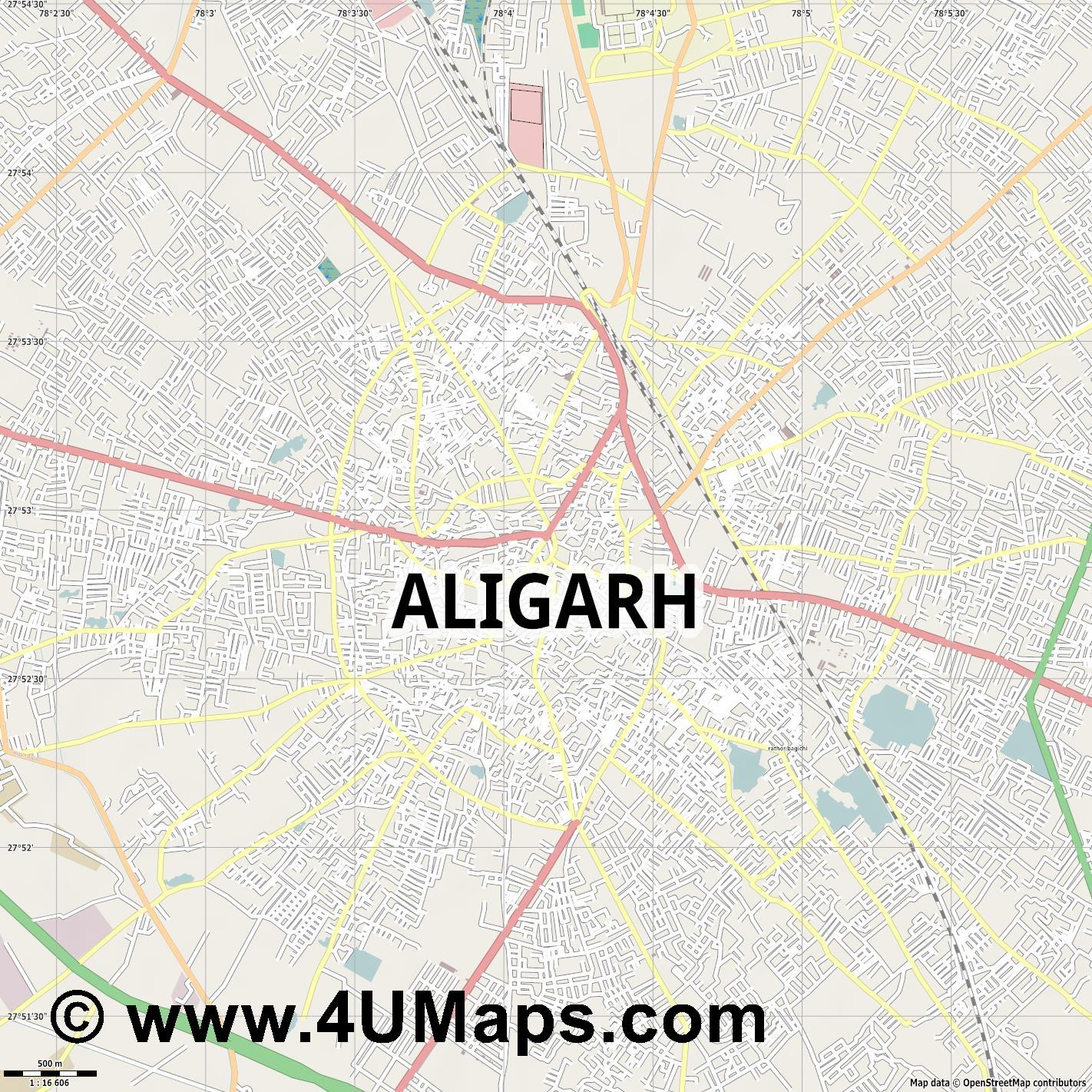 Aligarh  jpg ultra high detail preview vector city map
