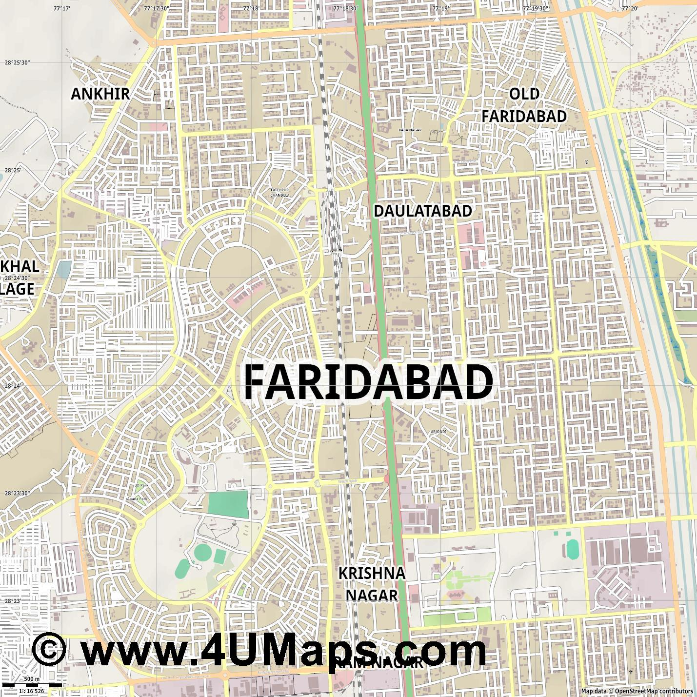 Faridabad  jpg ultra high detail preview vector city map