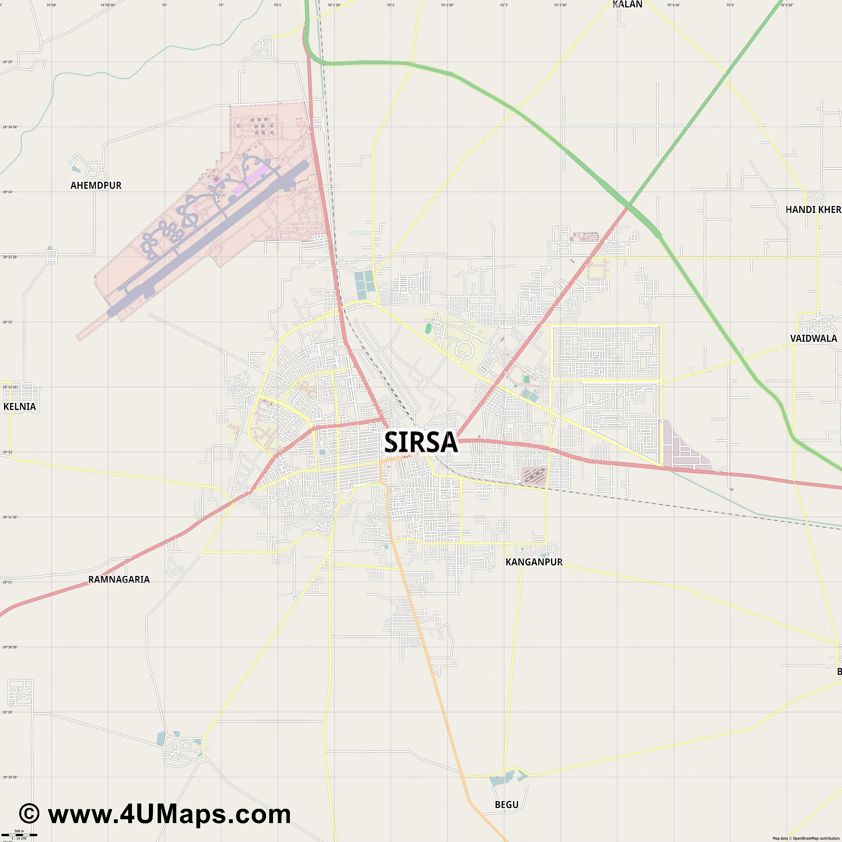 Sirsa  jpg ultra high detail preview vector city map