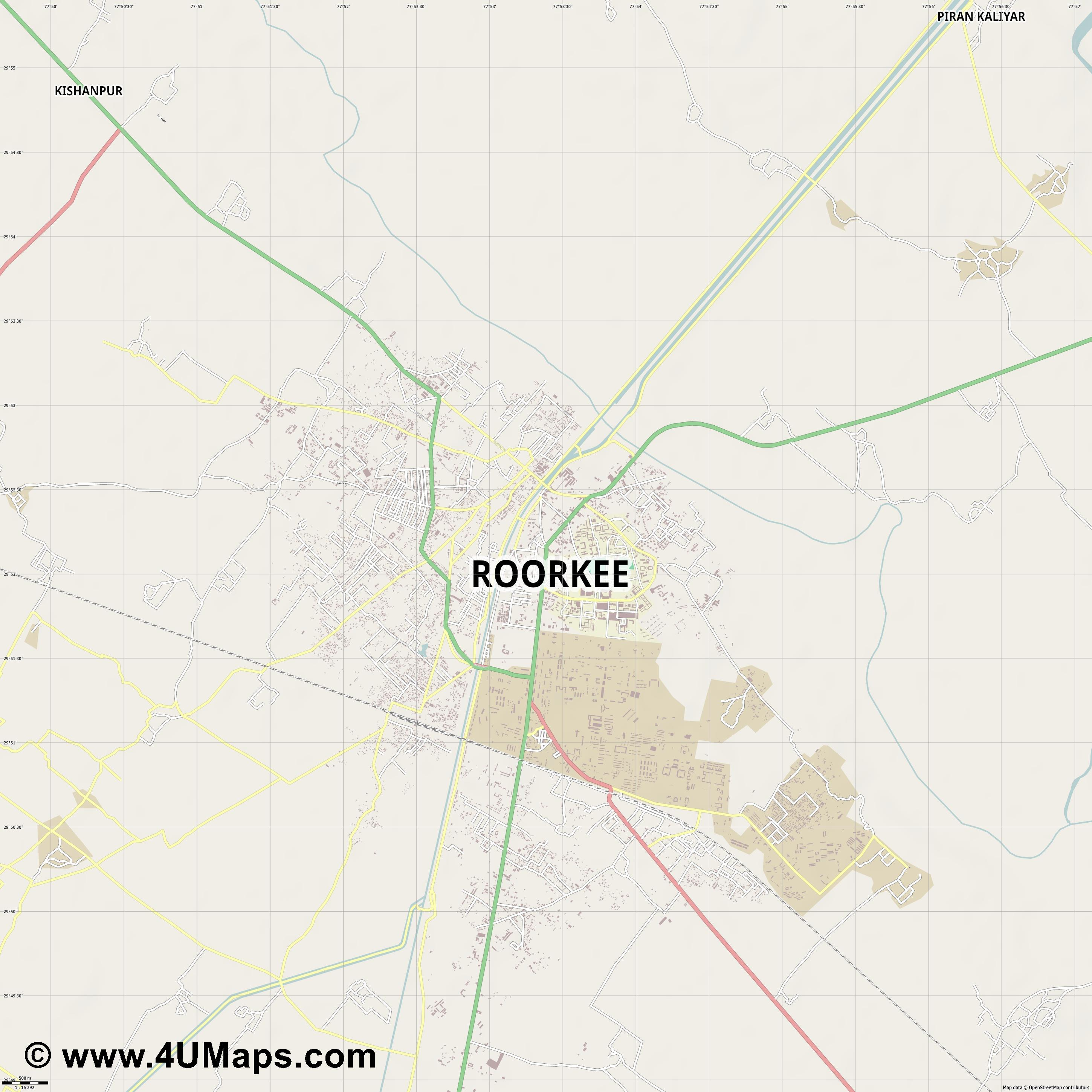 Roorkee  jpg ultra high detail preview vector city map