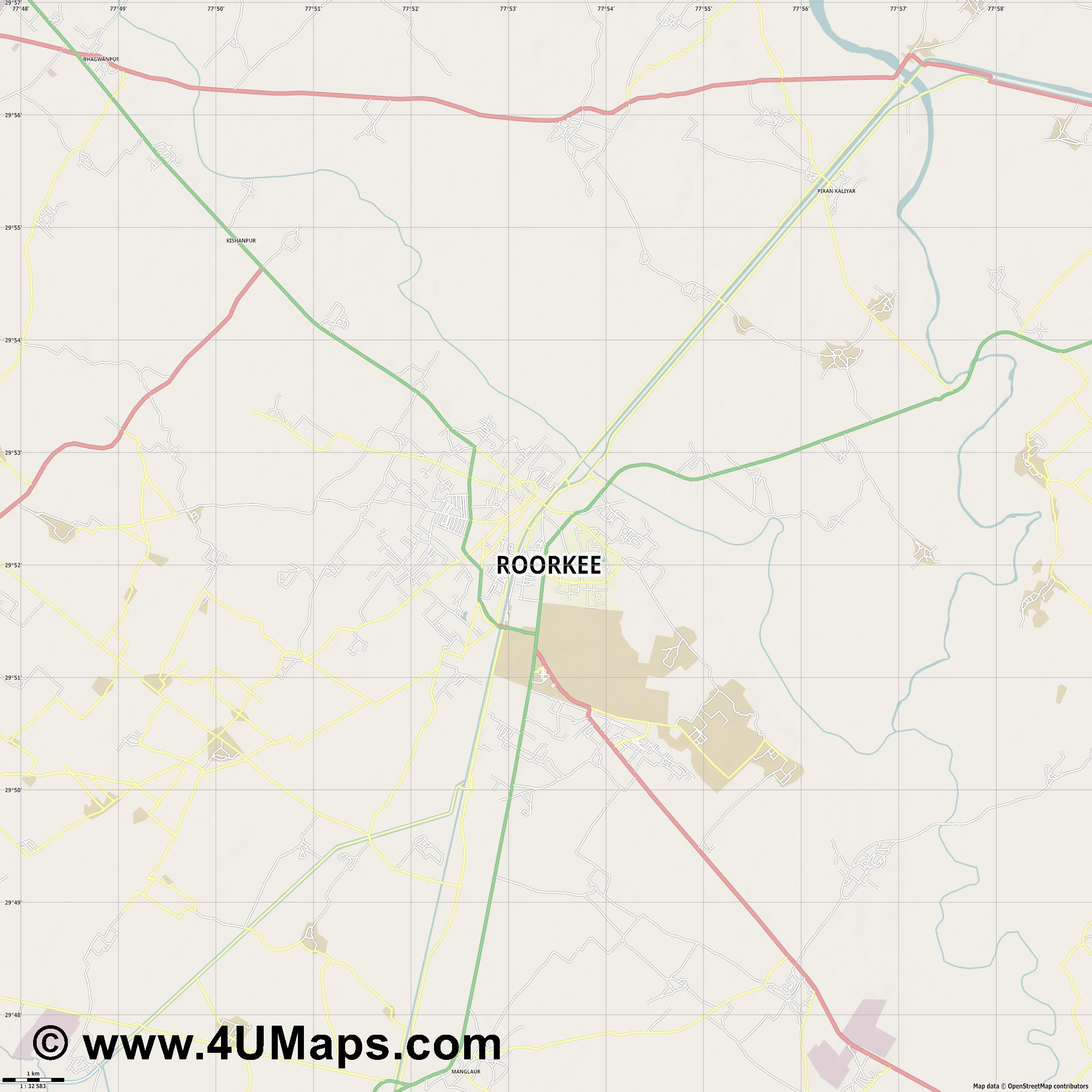 Roorkee  jpg high detail, large area preview vector city map