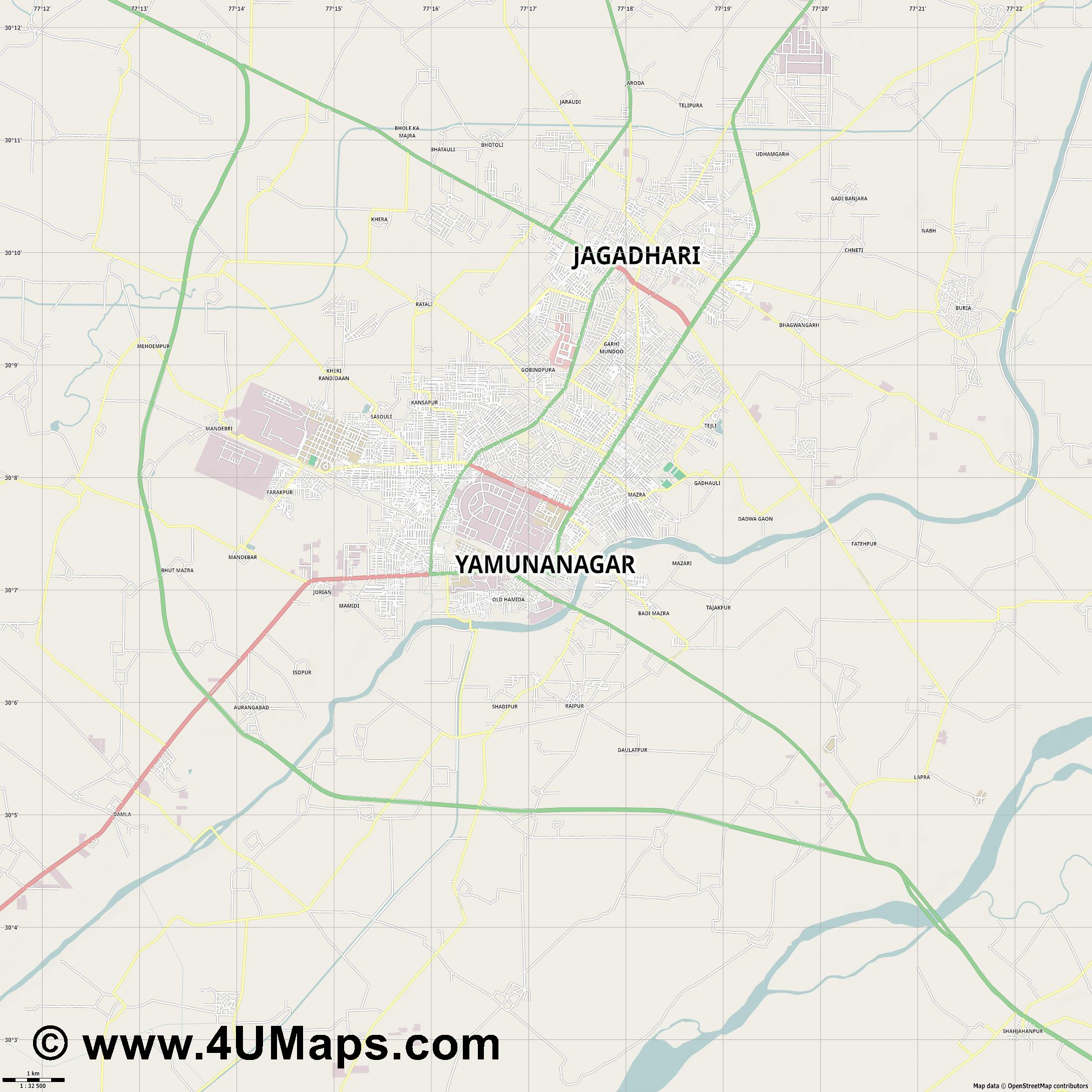 Yamunanagar  jpg high detail, large area preview vector city map