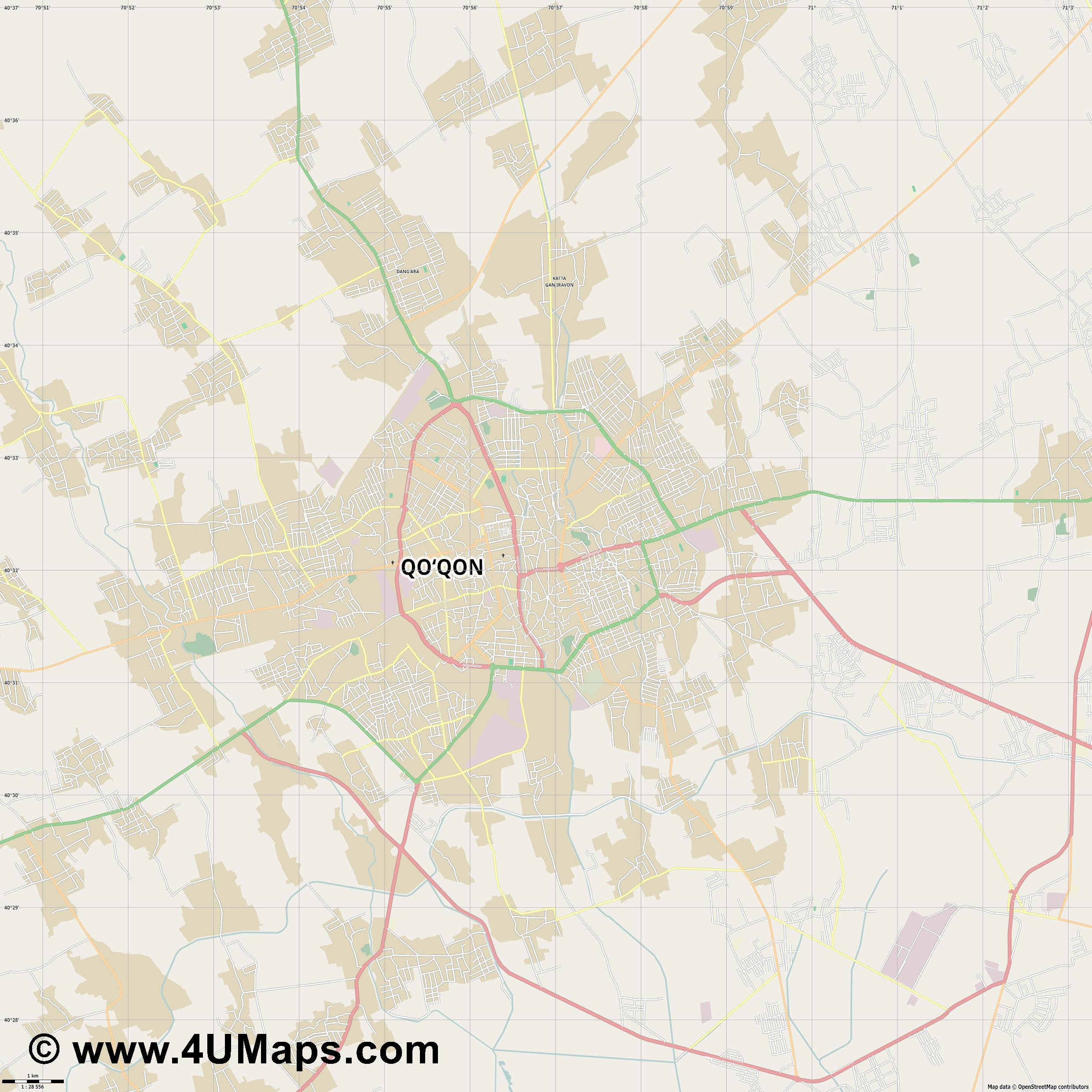 Quqon Kokand  jpg high detail, large area preview vector city map