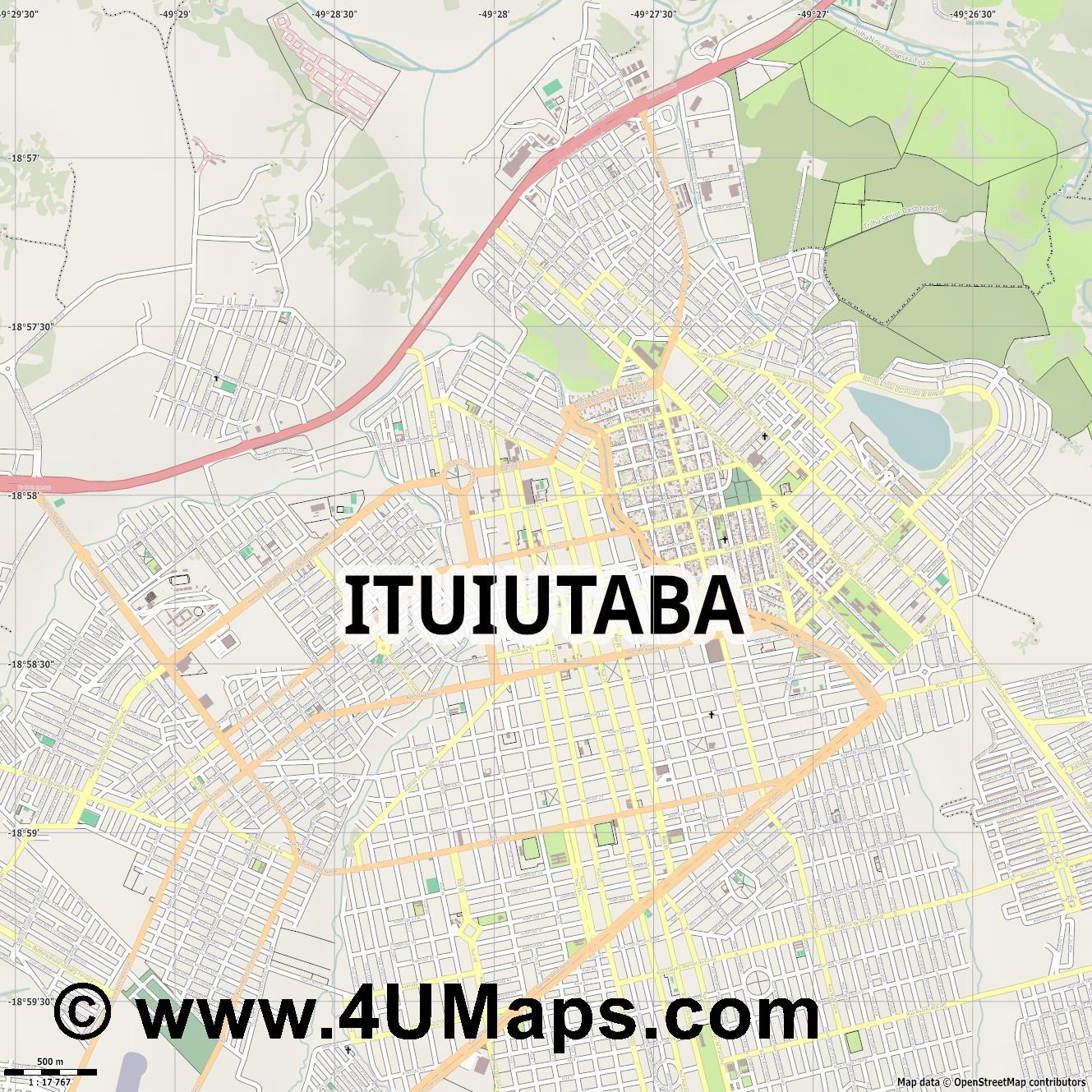 Ituiutaba  jpg ultra high detail preview vector city map