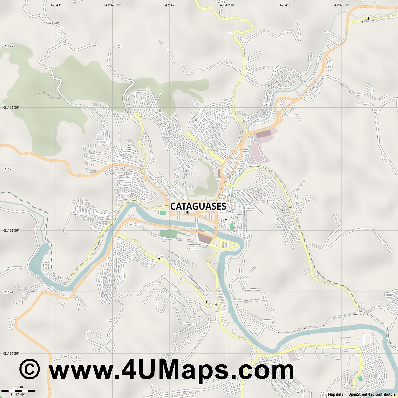 Cataguases  jpg ultra high detail preview vector city map