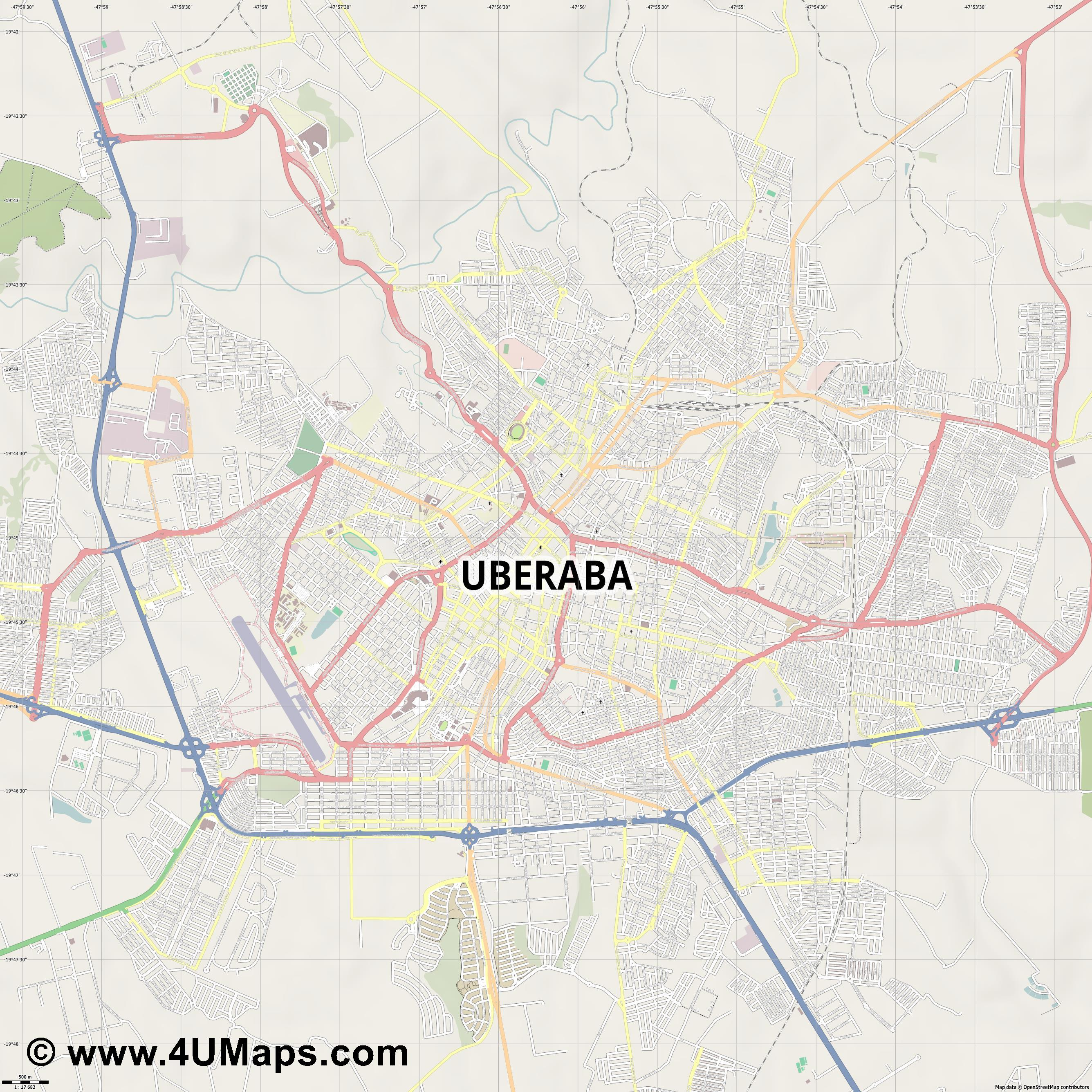 Uberaba  jpg ultra high detail preview vector city map