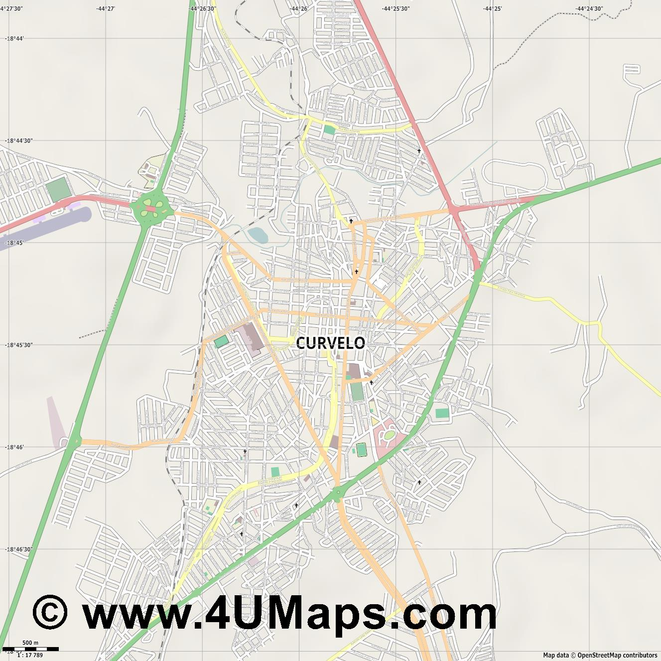 Curvelo  jpg ultra high detail preview vector city map