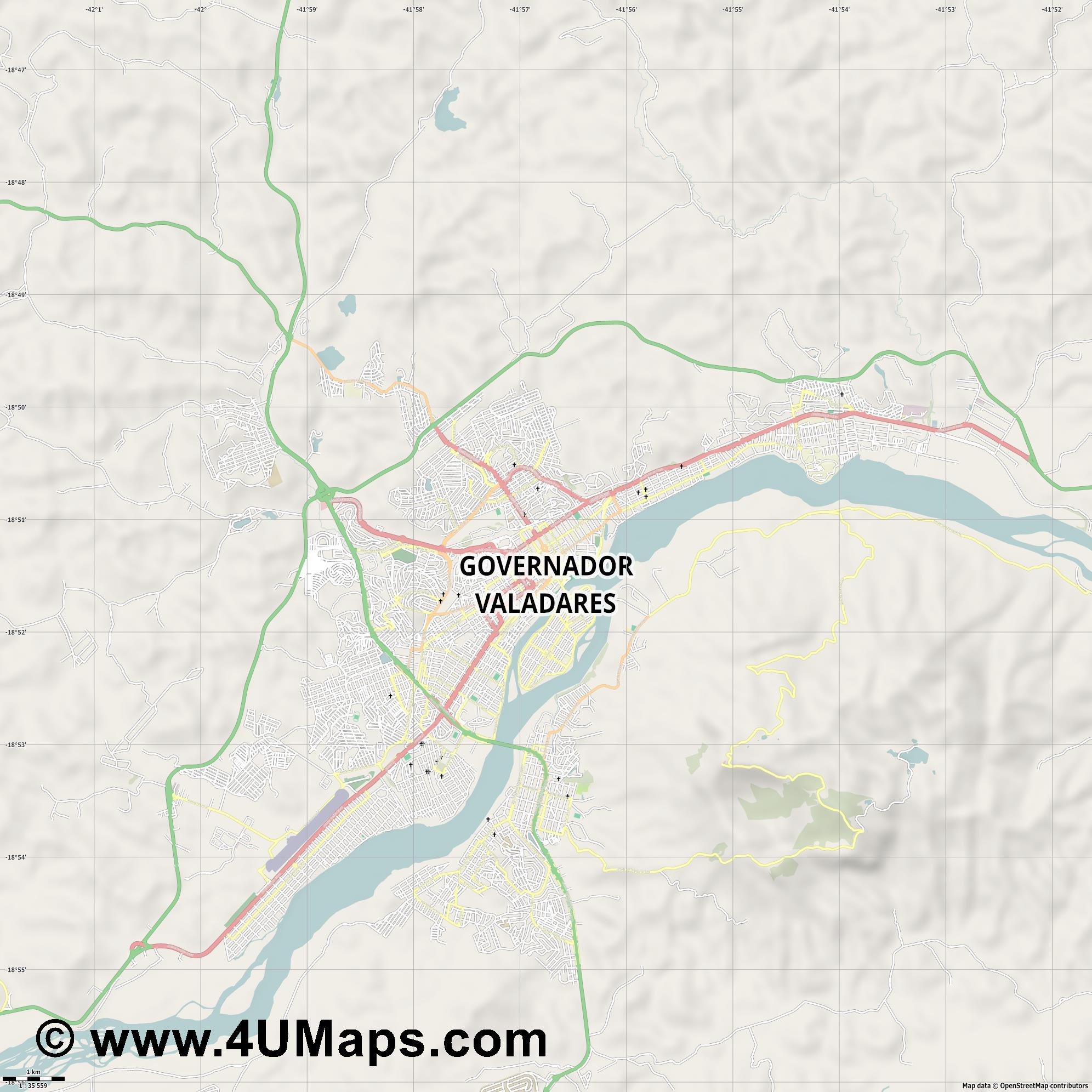 Governador Valadares  jpg high detail, large area preview vector city map