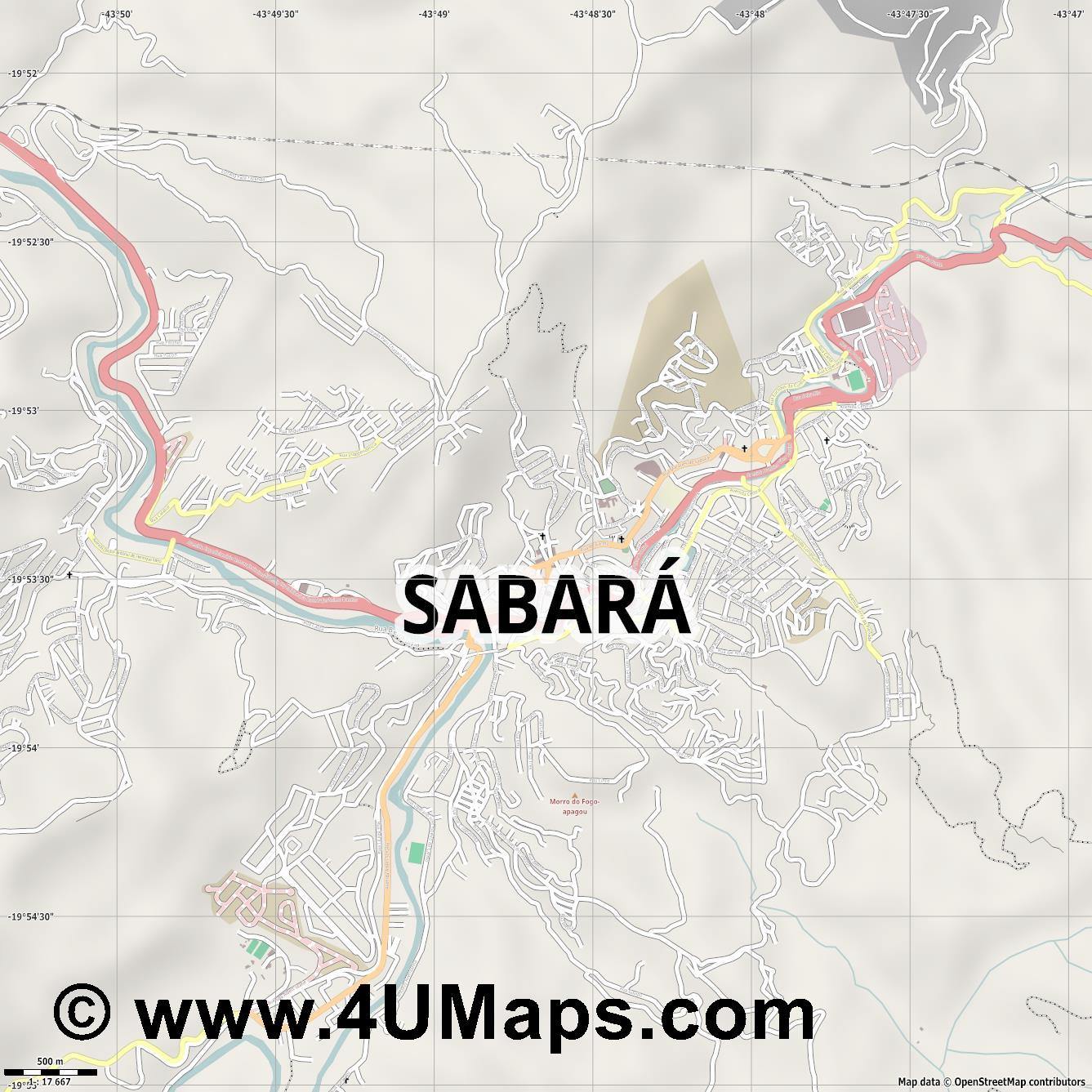 Sabará  jpg ultra high detail preview vector city map